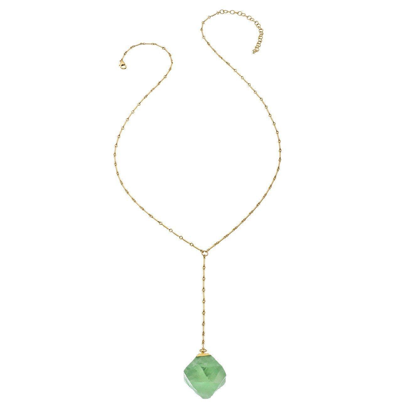 Heather Hawkins - Bar Chain Y Necklace - Fluorite Cube