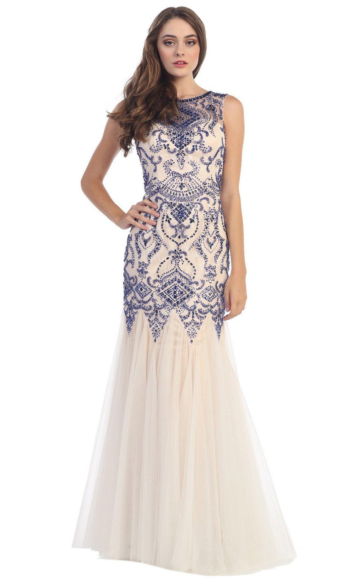 Eureka Fashion - Bateau Neck Embellished Mermaid Evening Gown