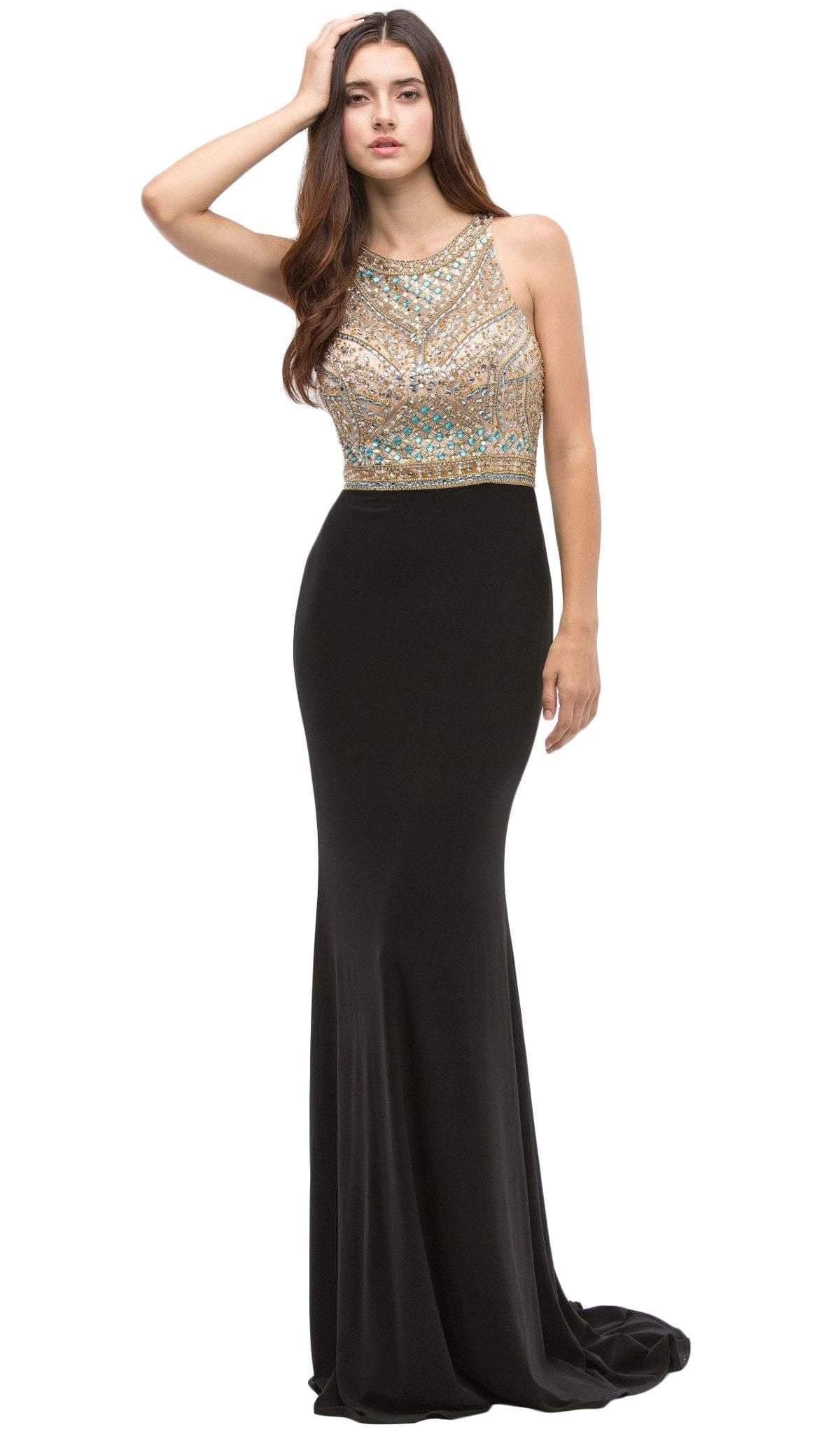 Eureka Fashion - Beaded Halter Neck Jersey Sheath Evening Dress