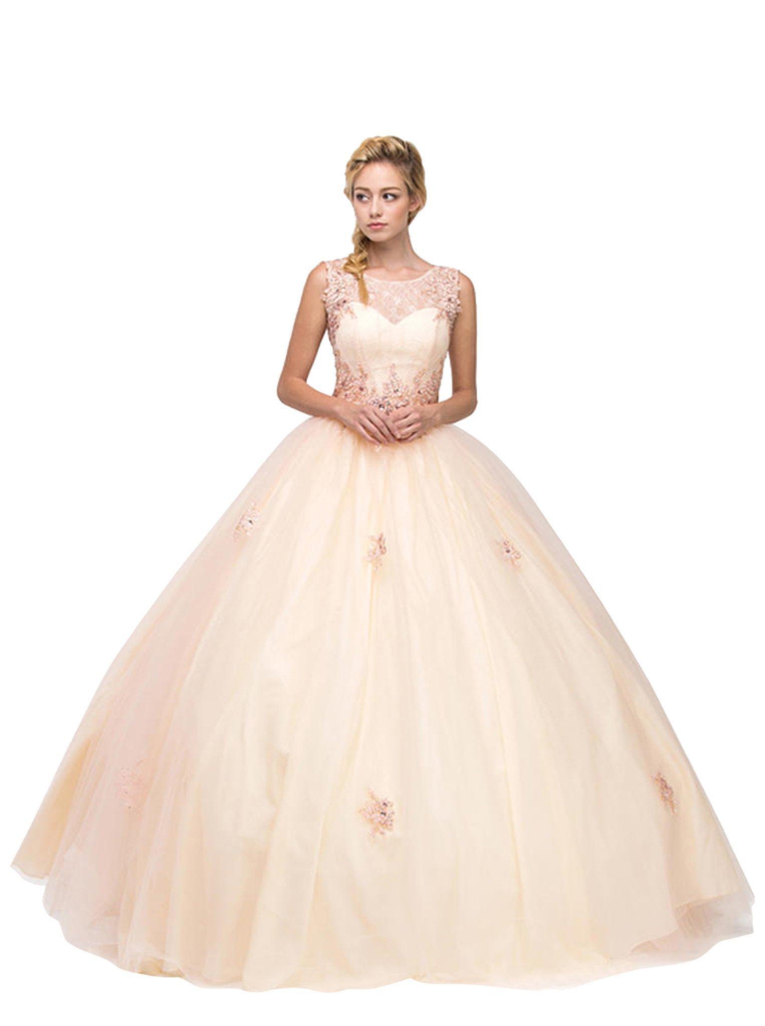 Eureka Fashion - Bejeweled Lace Illusion Bateau Evening Gown
