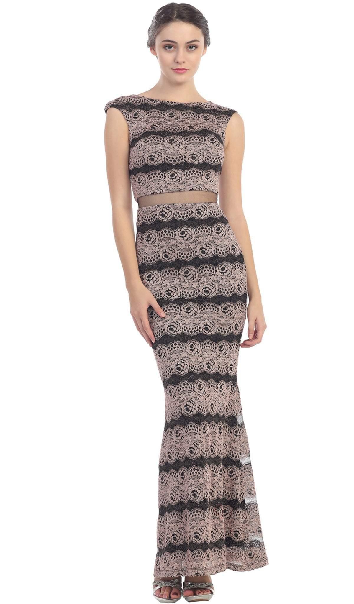 Eureka Fashion - Cap Sleeve Striped Metallic Mesh Sheath Evening Dress