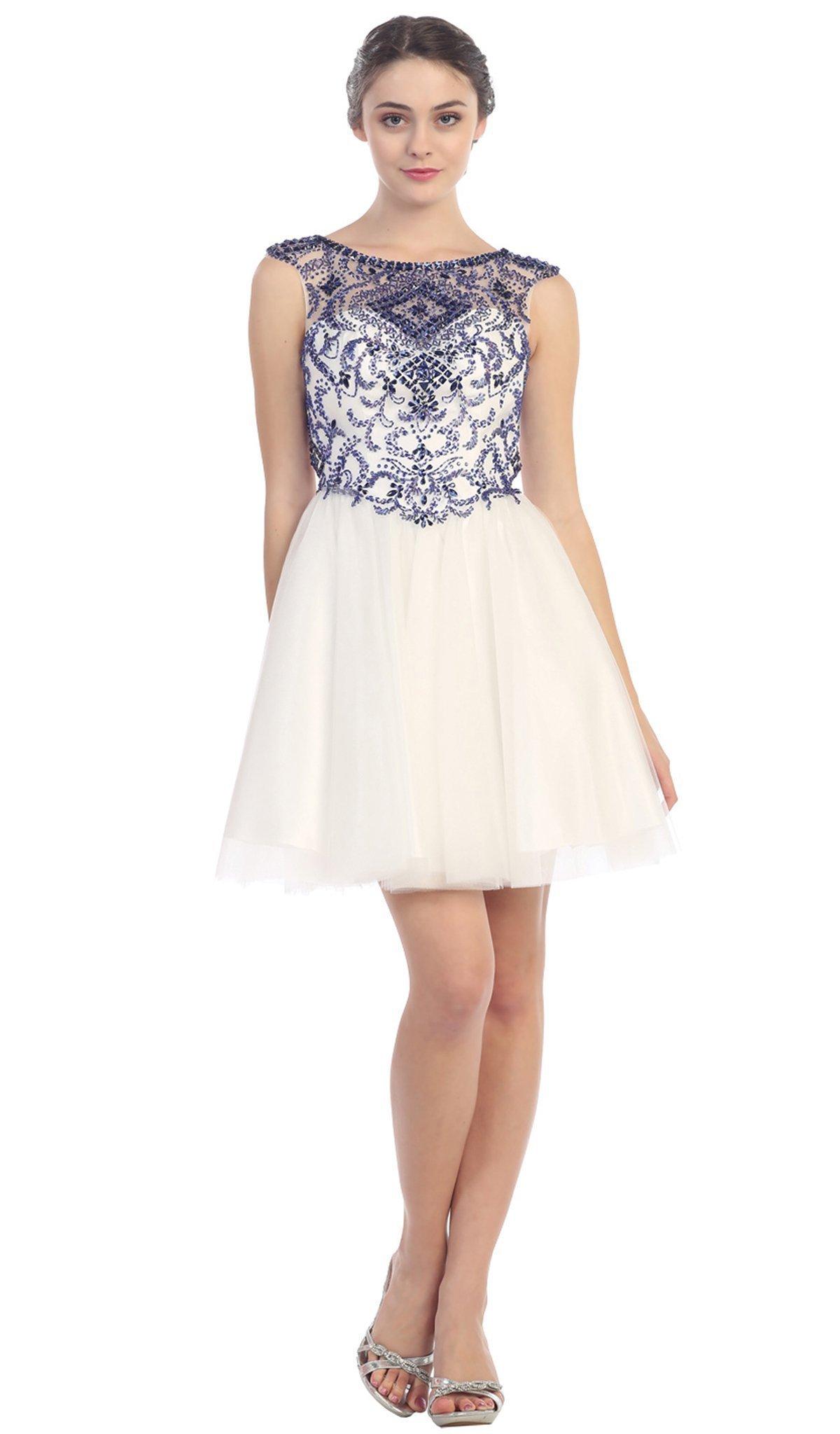 Eureka Fashion - Crystal Embellished Sheer Cocktail Dress