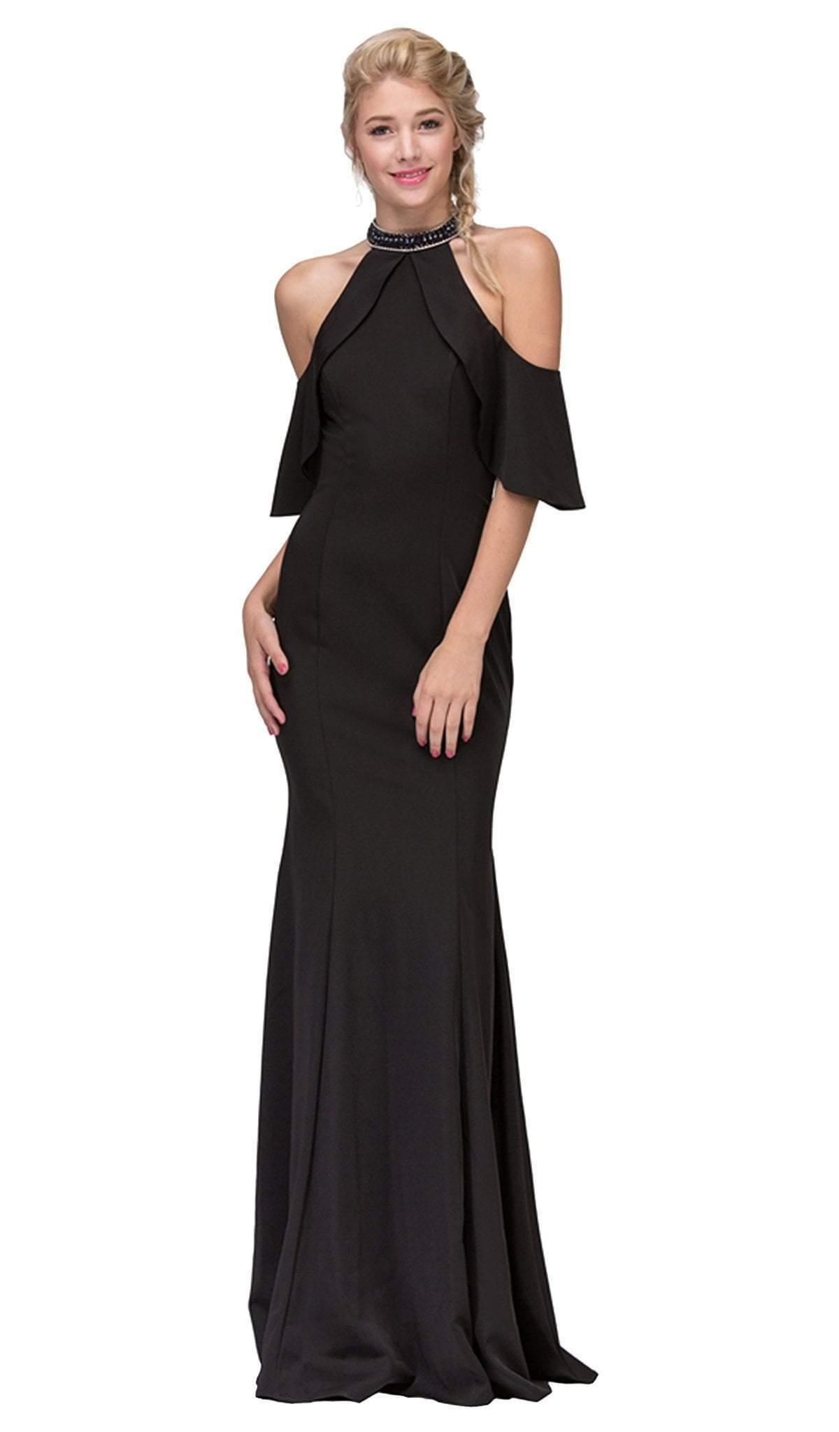 Eureka Fashion - Embellished High Halter Satin Sheath Evening Dress