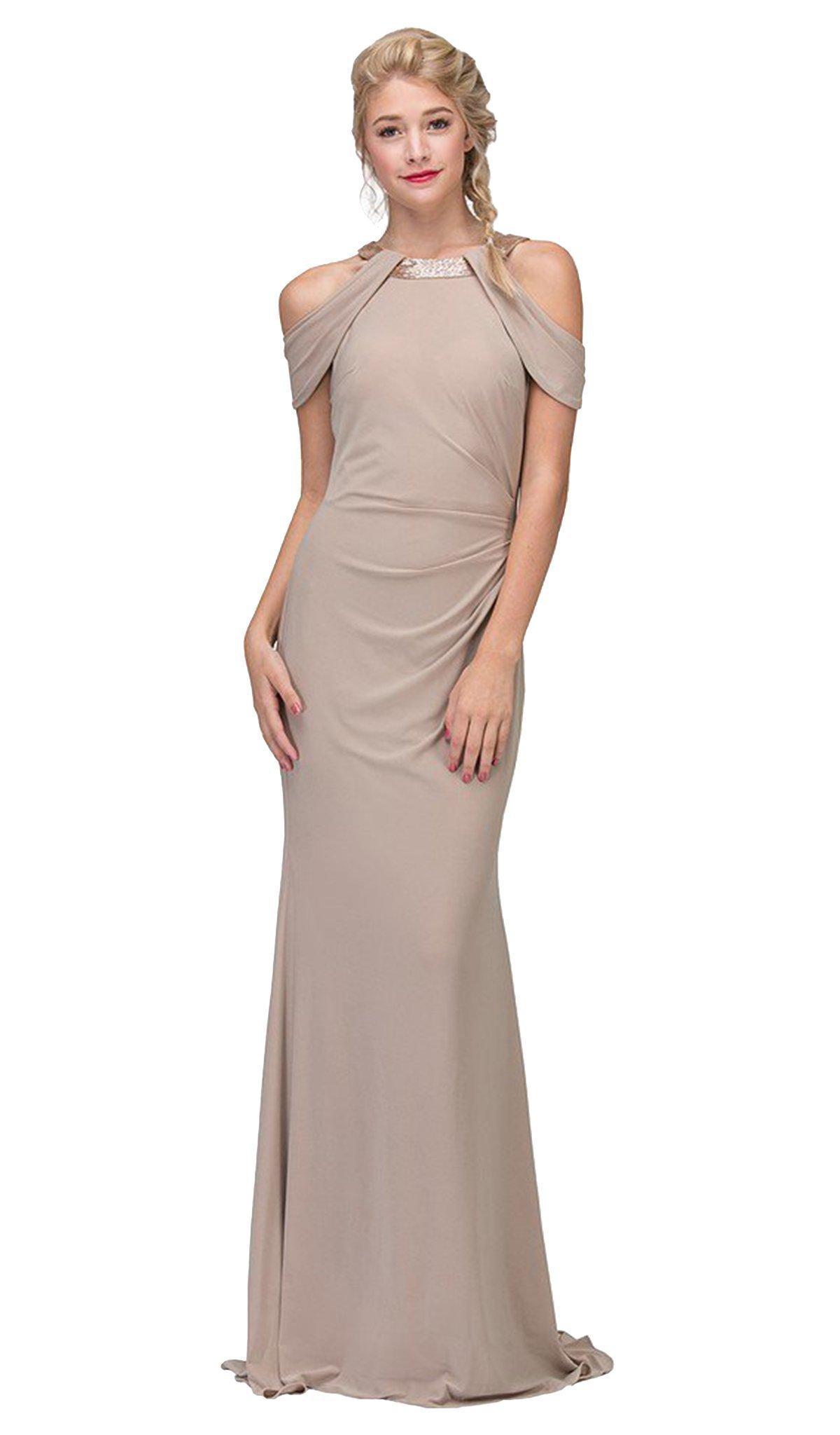 Eureka Fashion - Embellished Jewel Neck Satin Sheath Evening Dress