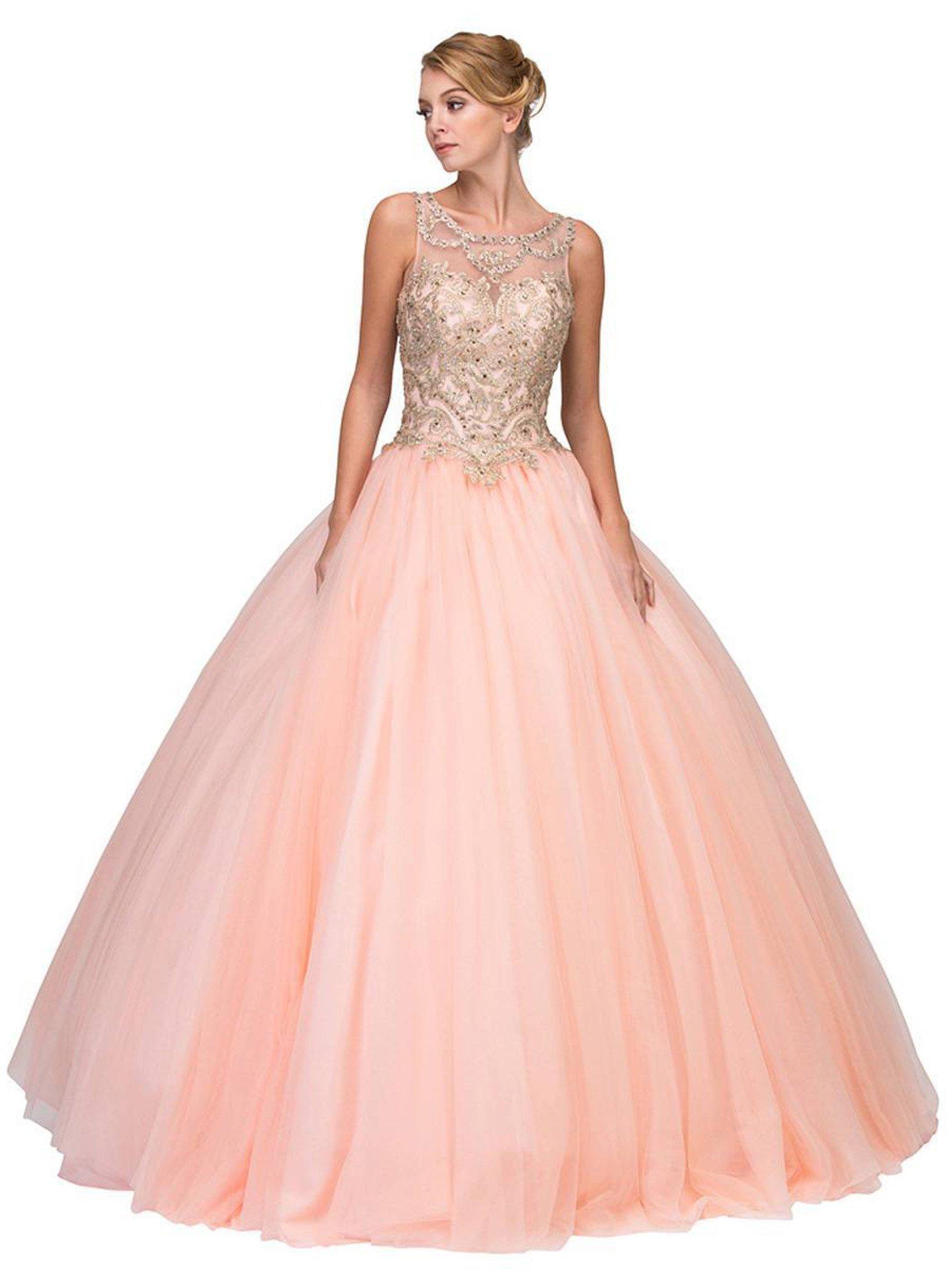 Eureka Fashion - Gilded Bateau Neck Mesh Ball Gown