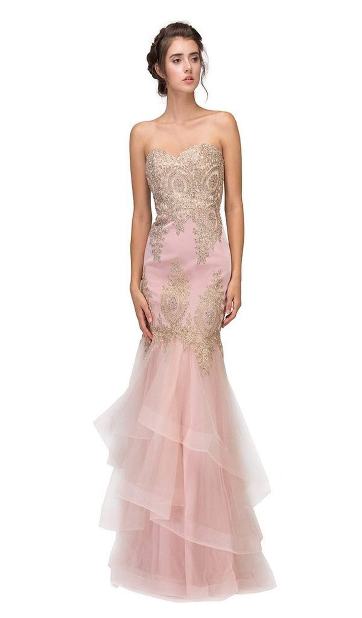 Eureka Fashion - Gilt Adorned Strapless Trumpet Evening Gown