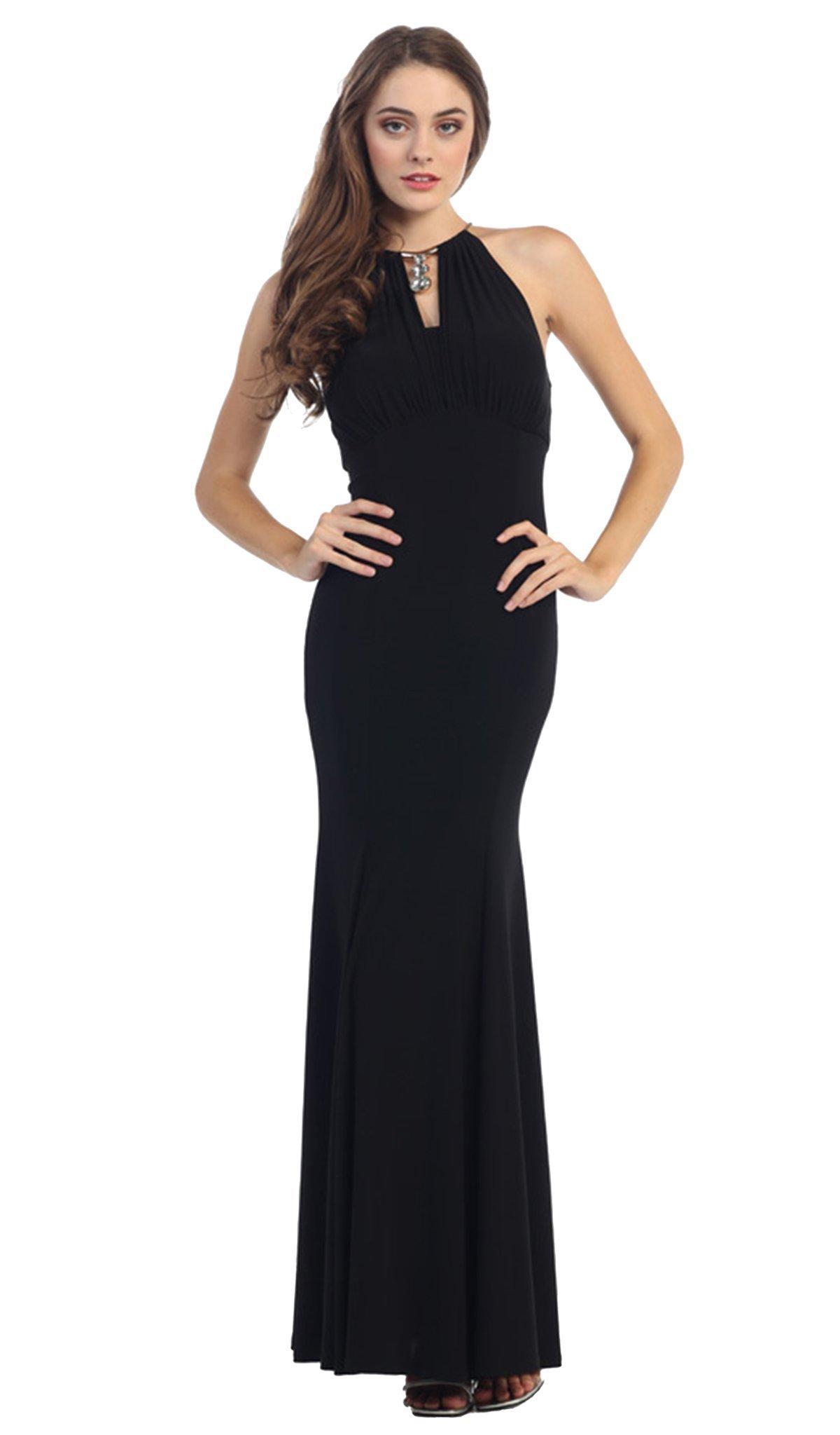 Eureka Fashion - Jeweled Pendant Ornate High Halter Evening Gown
