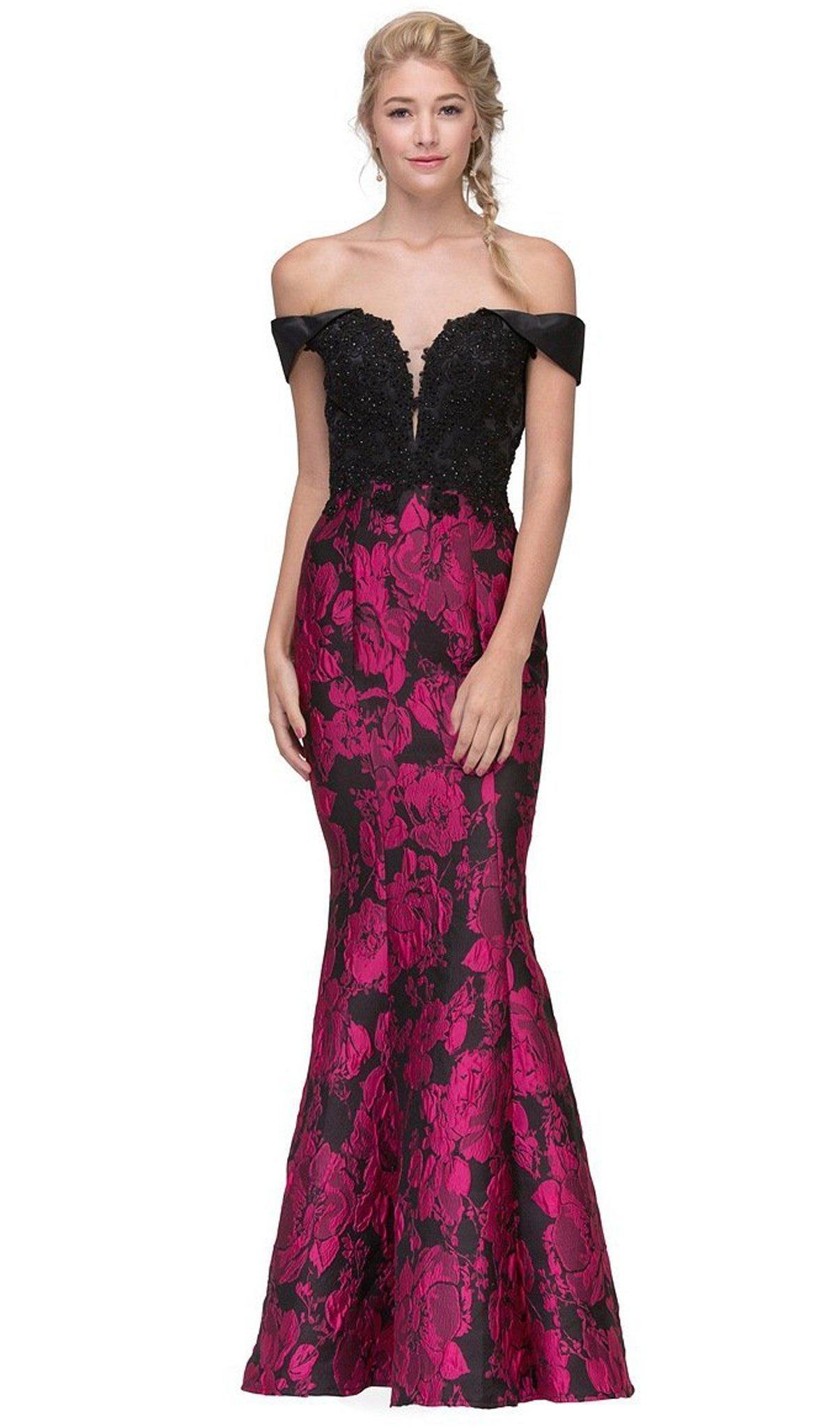 Eureka Fashion - Lace Off-Shoulder Floral Print Mermaid Dress