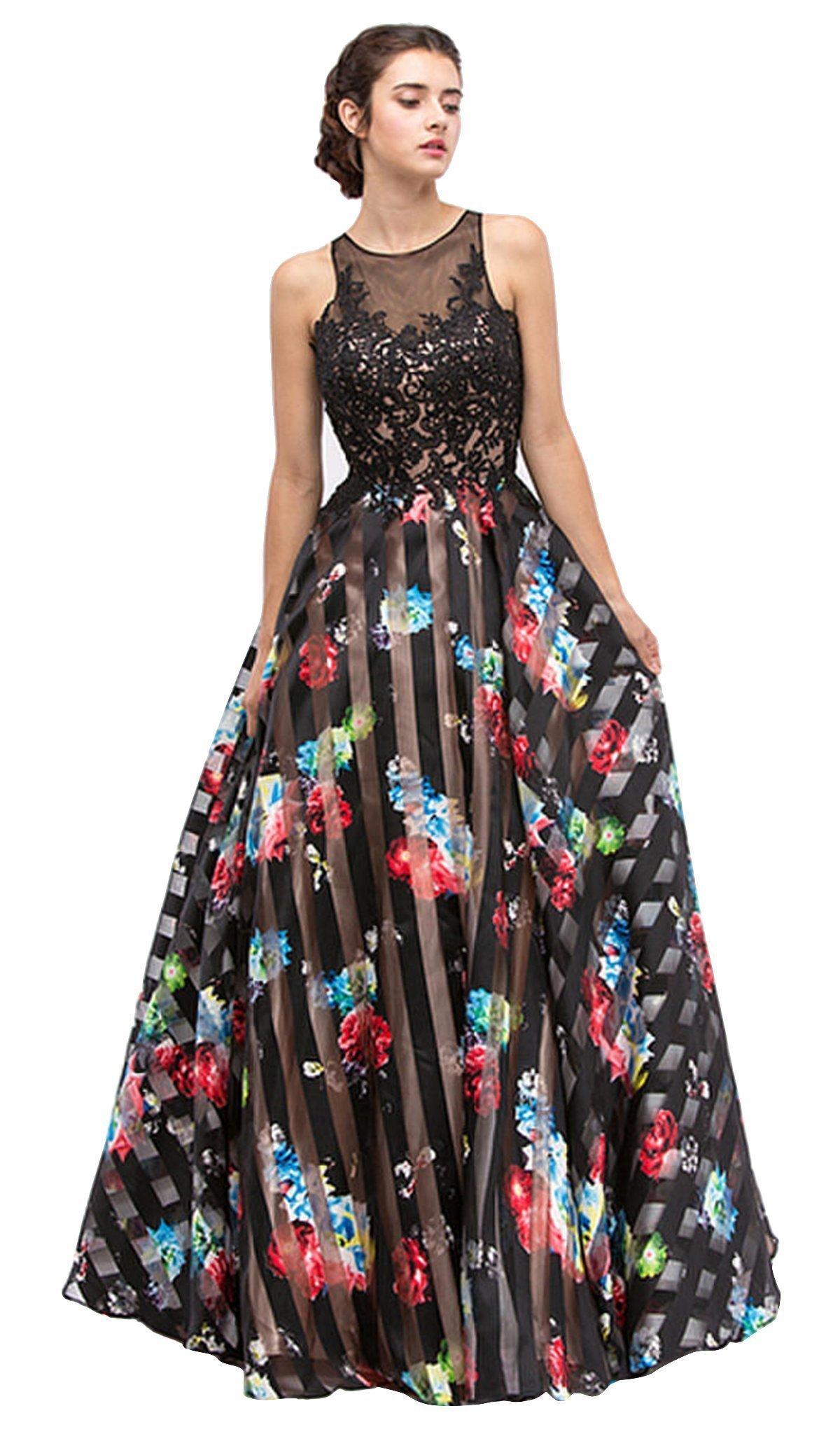 Eureka Fashion - Lace Stripe Floral Evening Gown