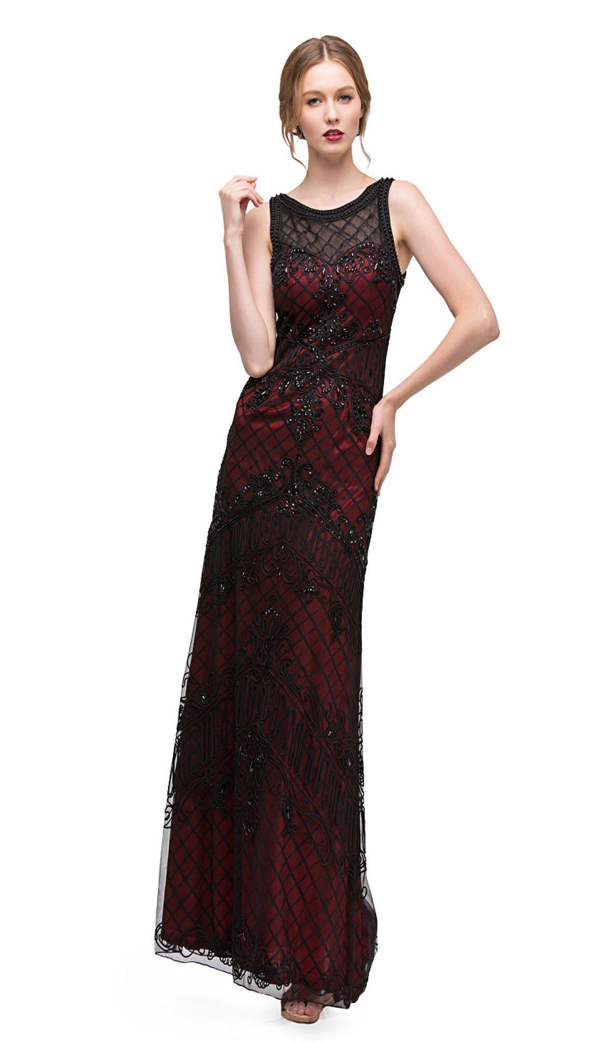 Eureka Fashion - Lattice Motif Illusion Bateau Soutache Evening Gown