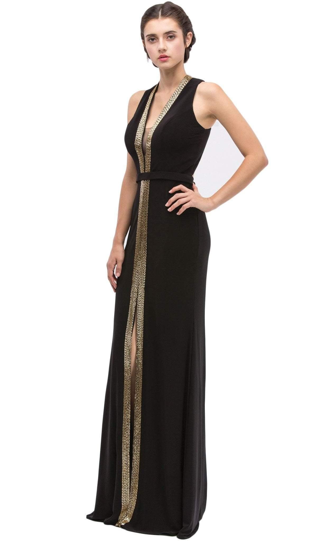 Eureka Fashion - Plunging Gold Beading Fitted Evening Dress