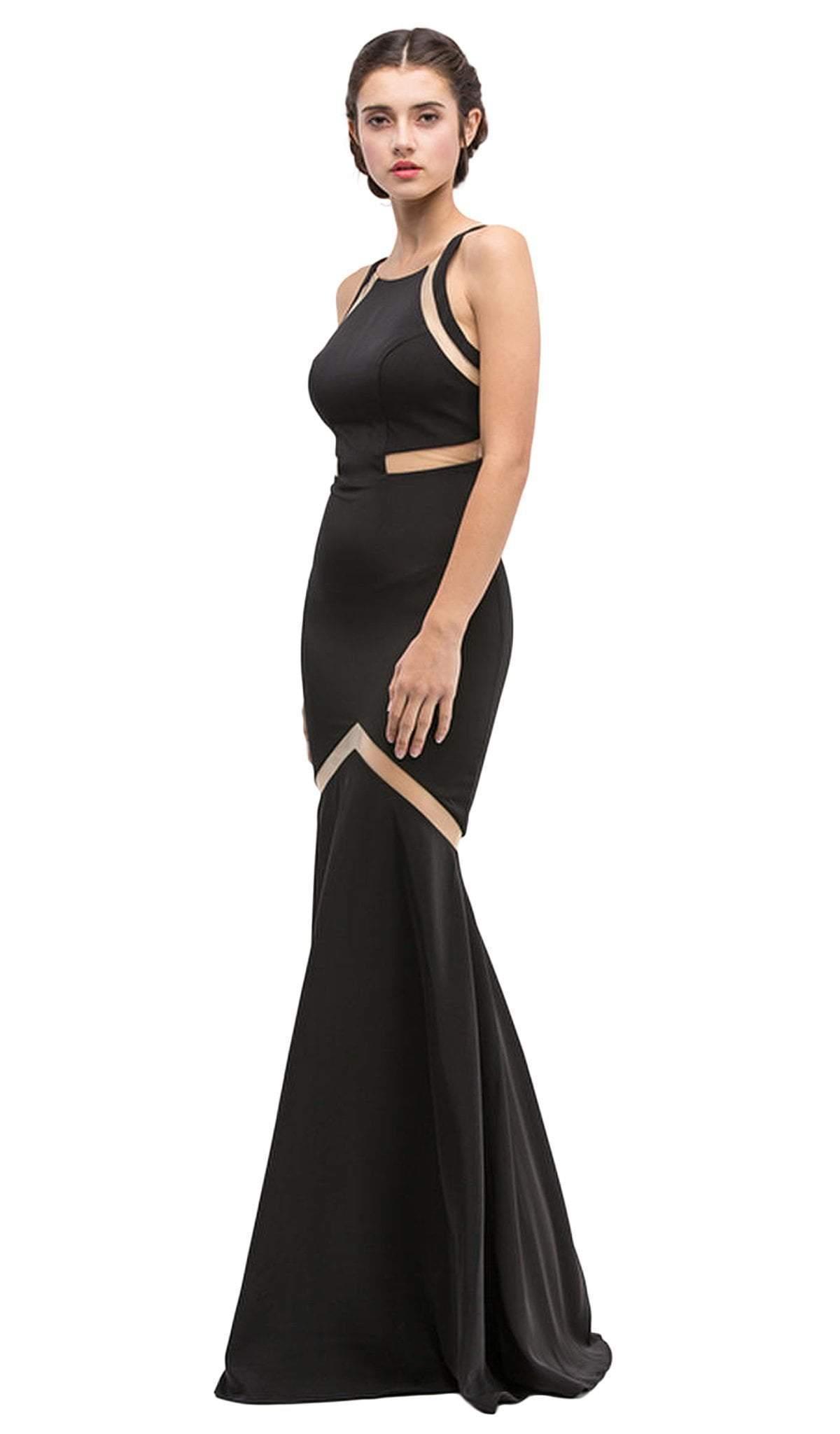 Eureka Fashion - Sheer Panels Halter Satin Trumpet Dress