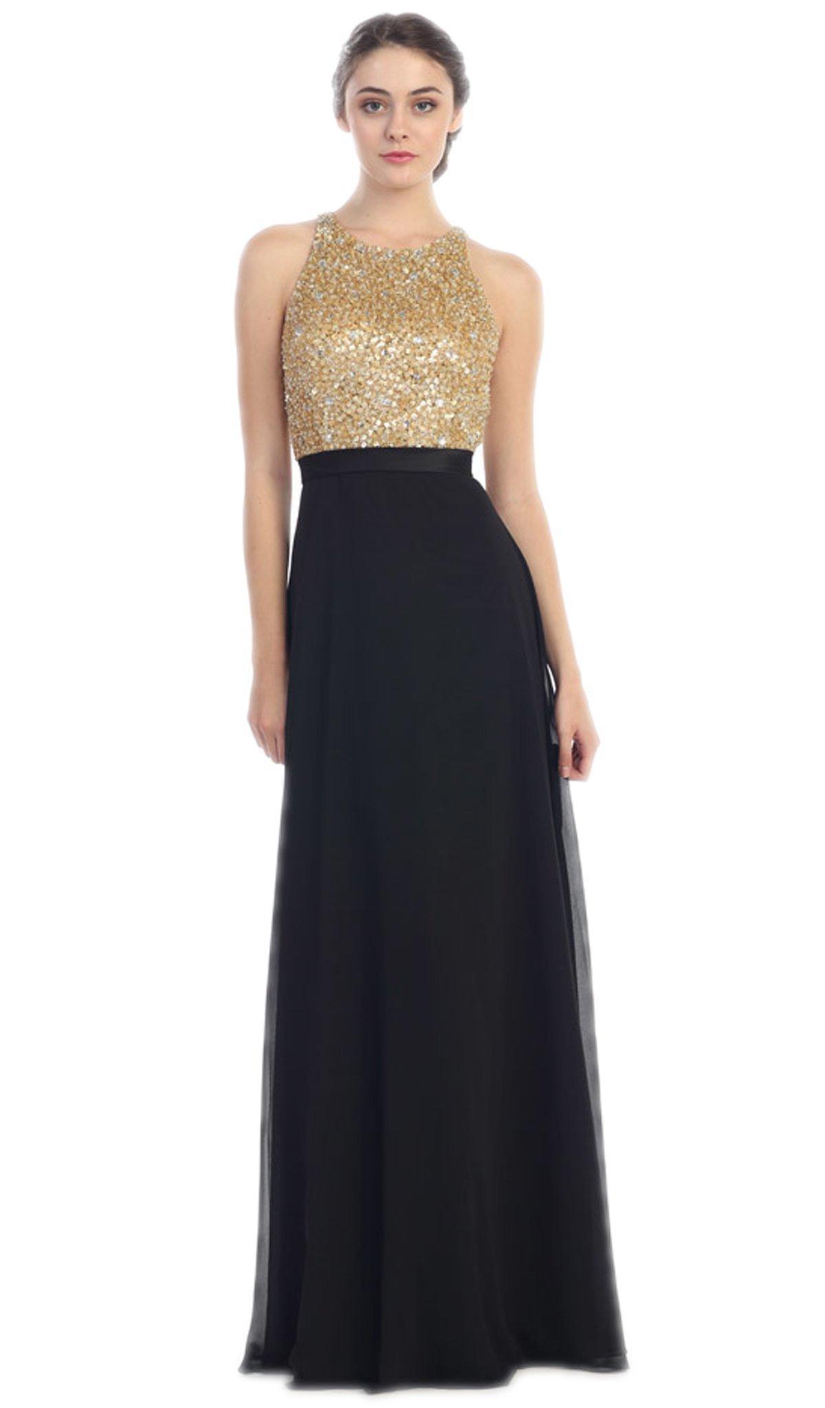 Eureka Fashion - Sleeveless Metallic Sequined Chiffon A-Line Evening Gown