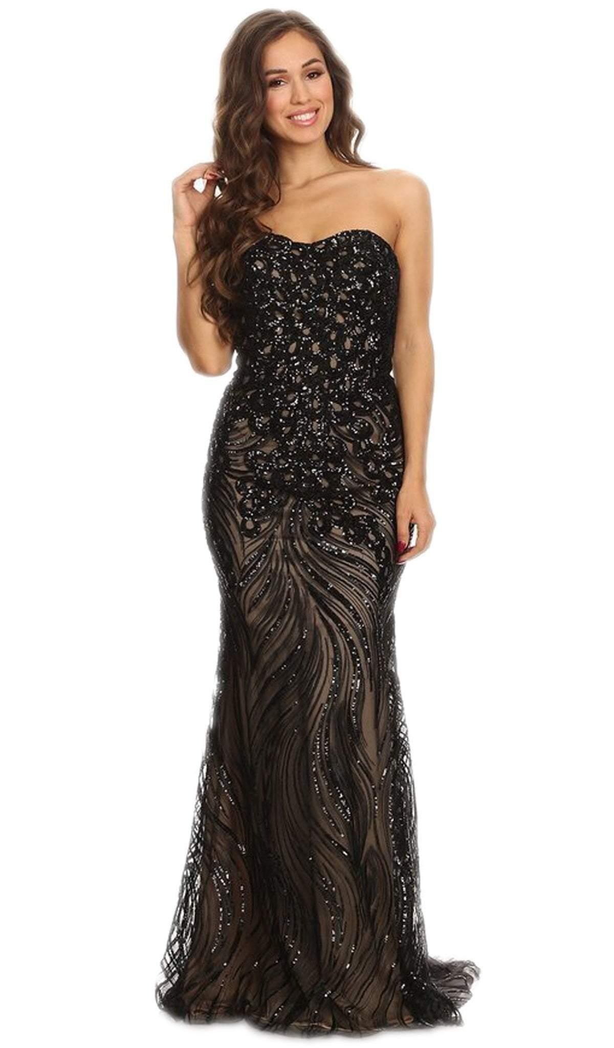 Eureka Fashion - Strapless Sequined Semi-Sweetheart Sheath Evening Dress
