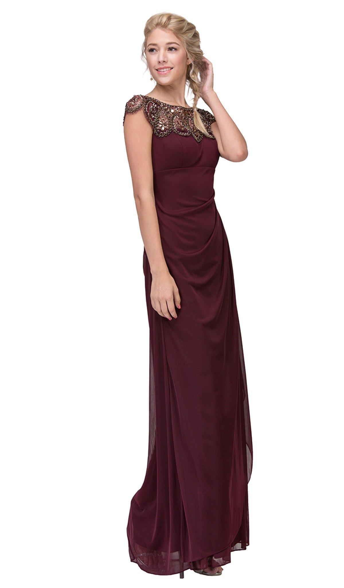 Eureka Fashion - Teardrop Beaded Illusion Bateau Sheath Evening Gown
