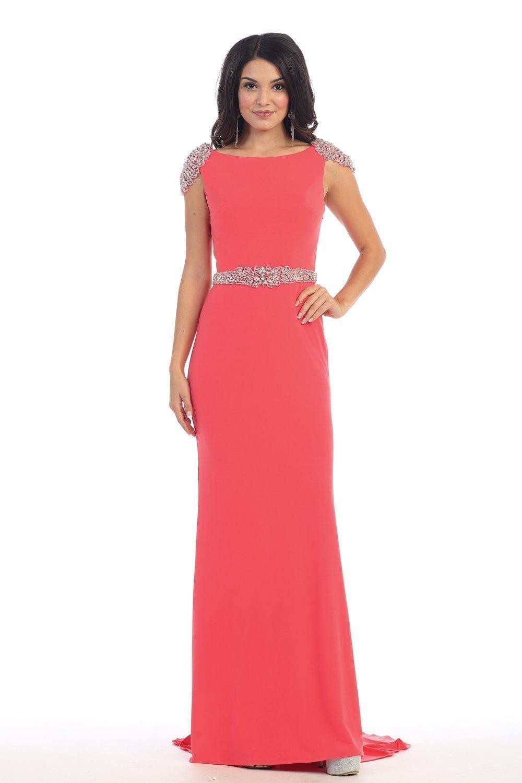 May Queen - MQ-1156 Bedazzled Bateau Sheath Evening Dress