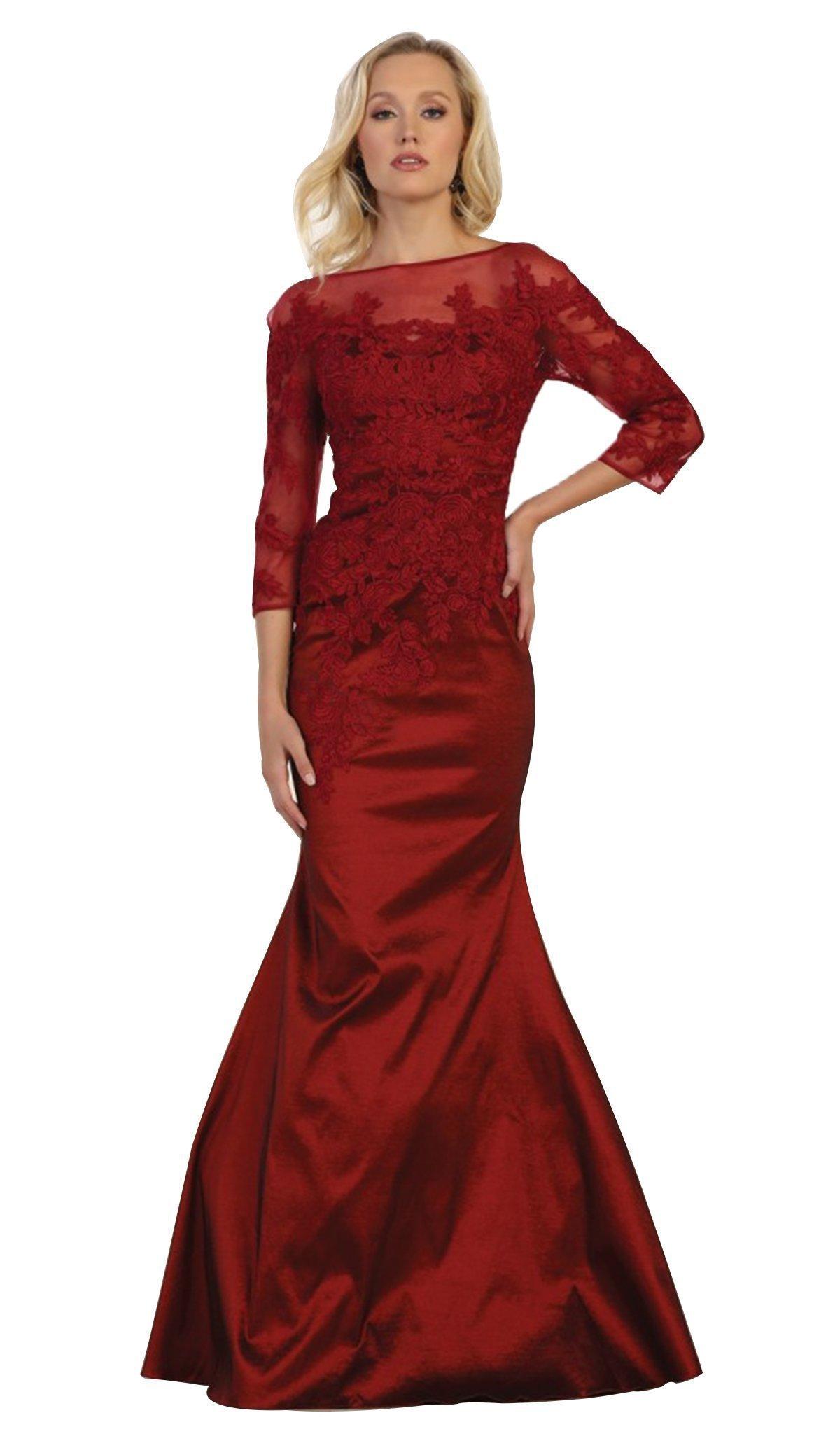 May Queen - MQ1501 Beaded Illusion Bateau Trumpet Evening Dress