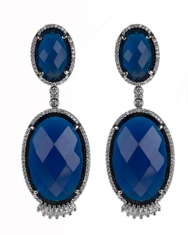 CZ by Kenneth Jay Lane - Double Blue Oval Earrings