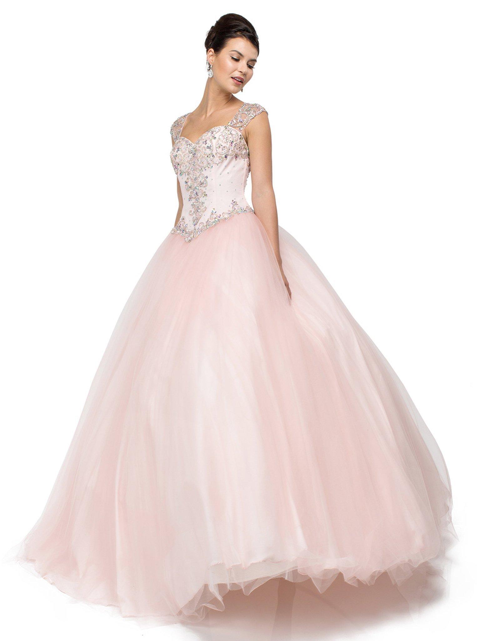 Dancing Queen - 1104 Beaded Pink Sweetheart Quinceanera Ball Gown