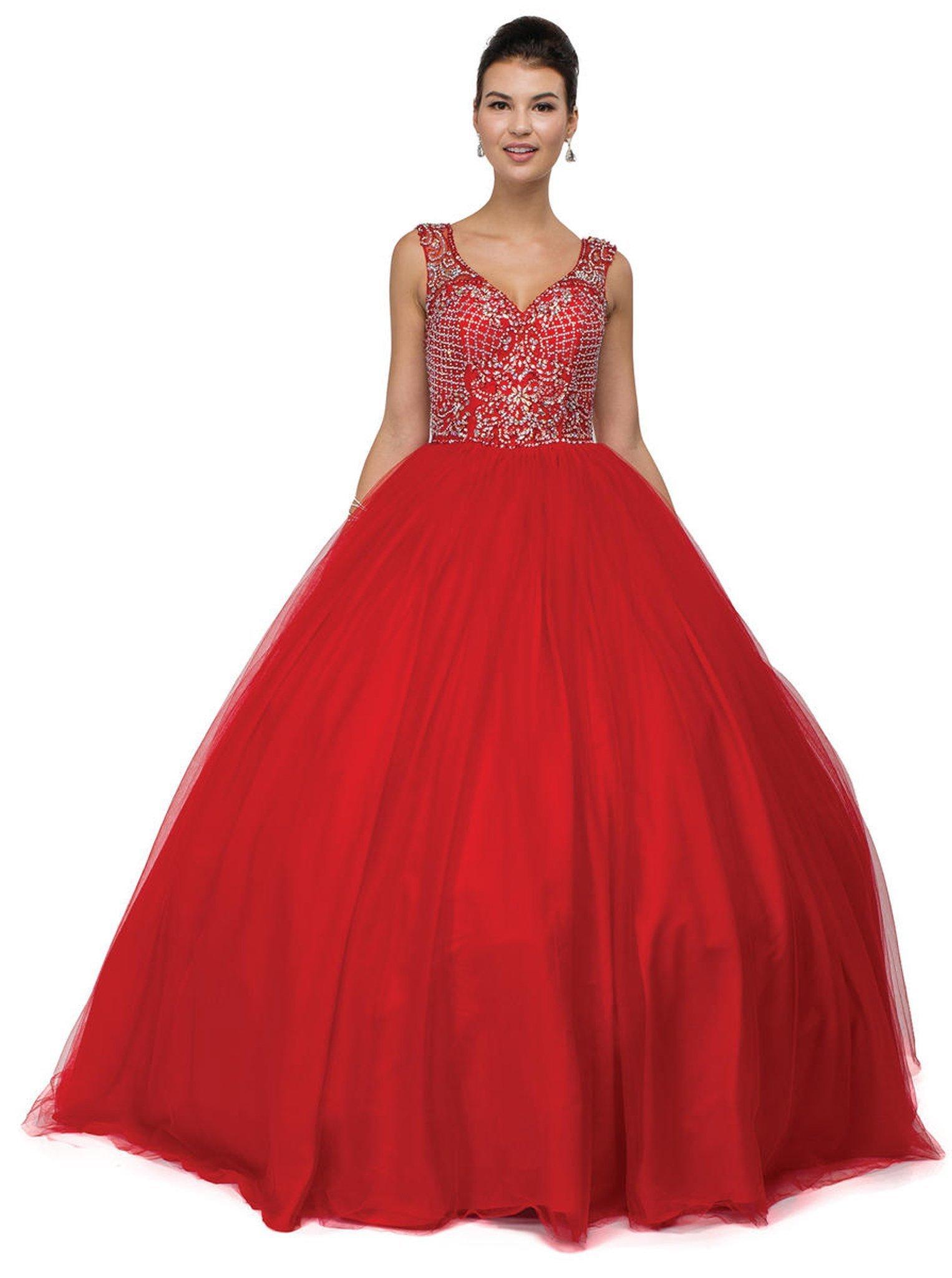 Dancing Queen - 1122 Sweetheart Sleeveless Beaded Quinceanera Gown