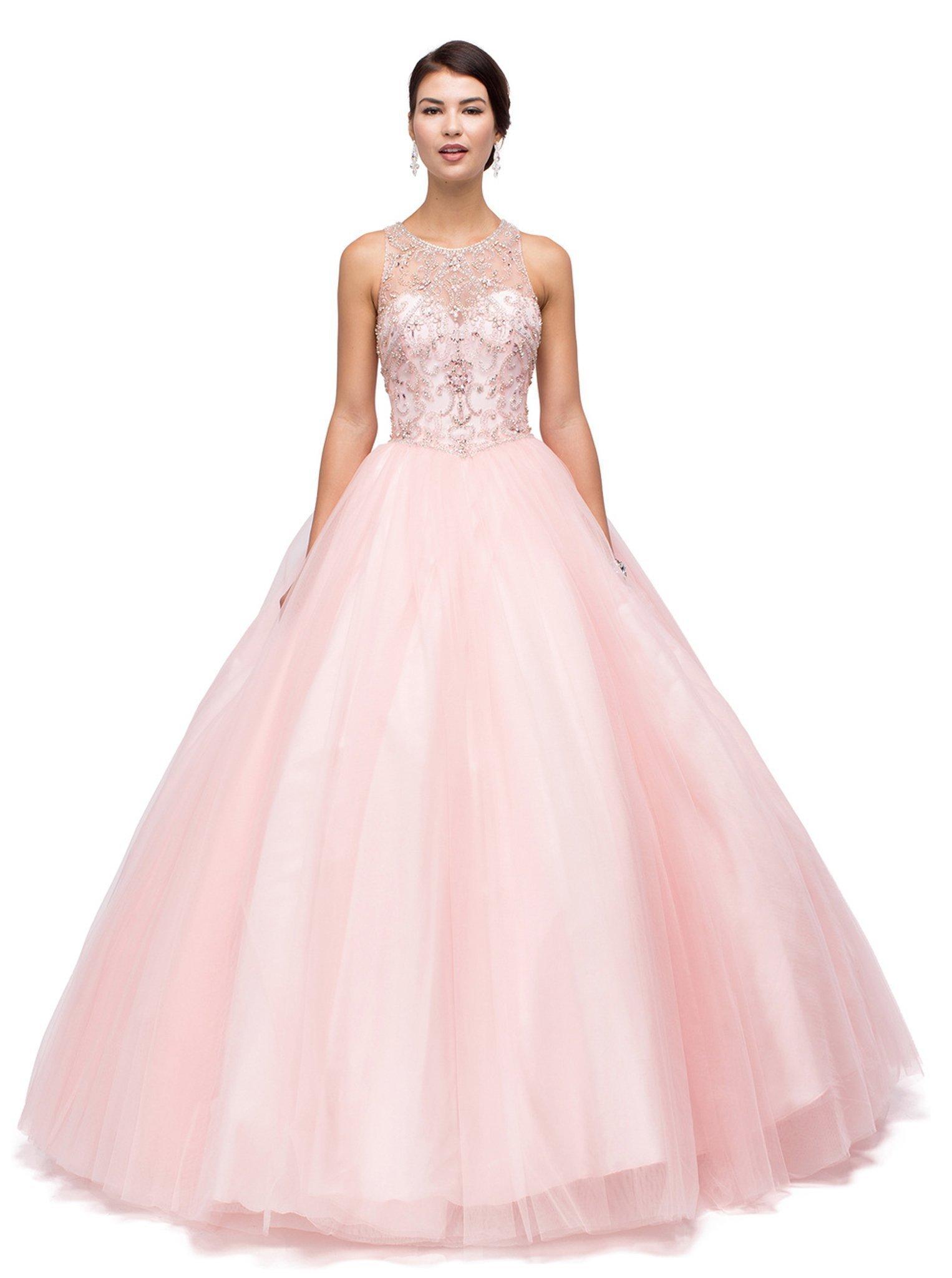 Dancing Queen - 1160 Embellished Illusion Jewel Neckline Quinceanera Ball Gown