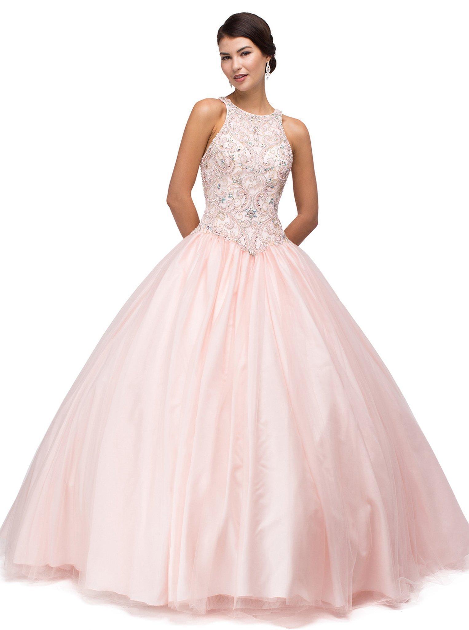 Dancing Queen - 1164 Sleeveless Jewel Embellished Quinceanera Ball Gown