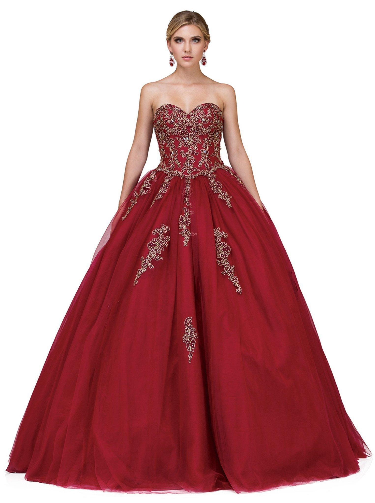 Dancing Queen - 1189 Embellished Strapless Sweetheart Quinceanera Ballgown