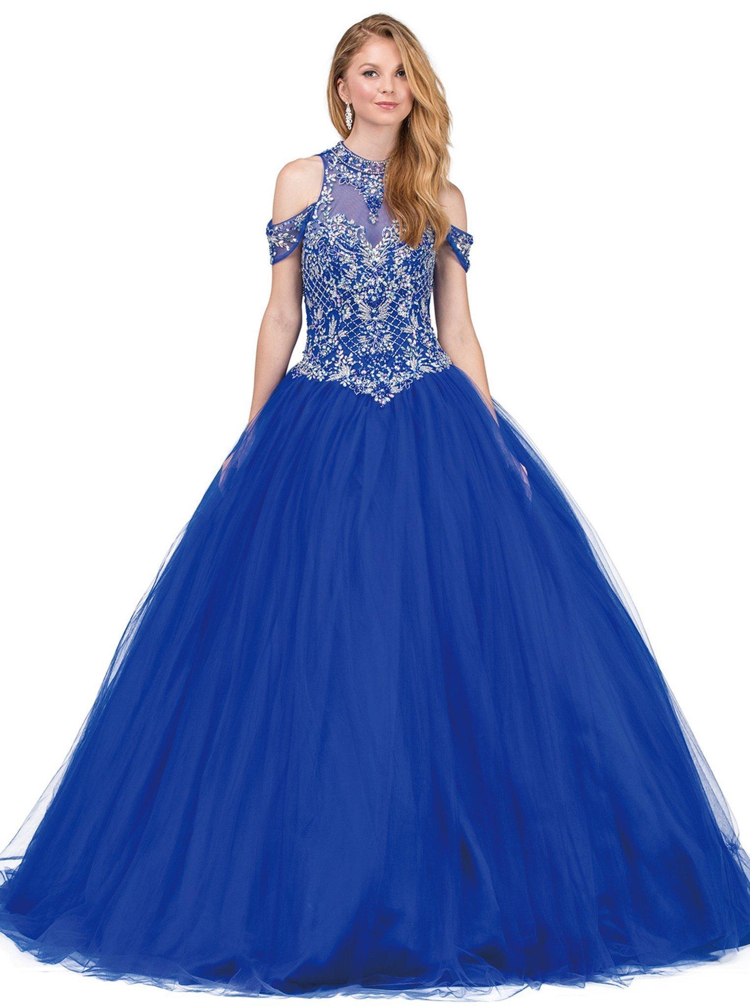 Dancing Queen - 1236 Bejeweled High Neck Quinceanera Ballgown