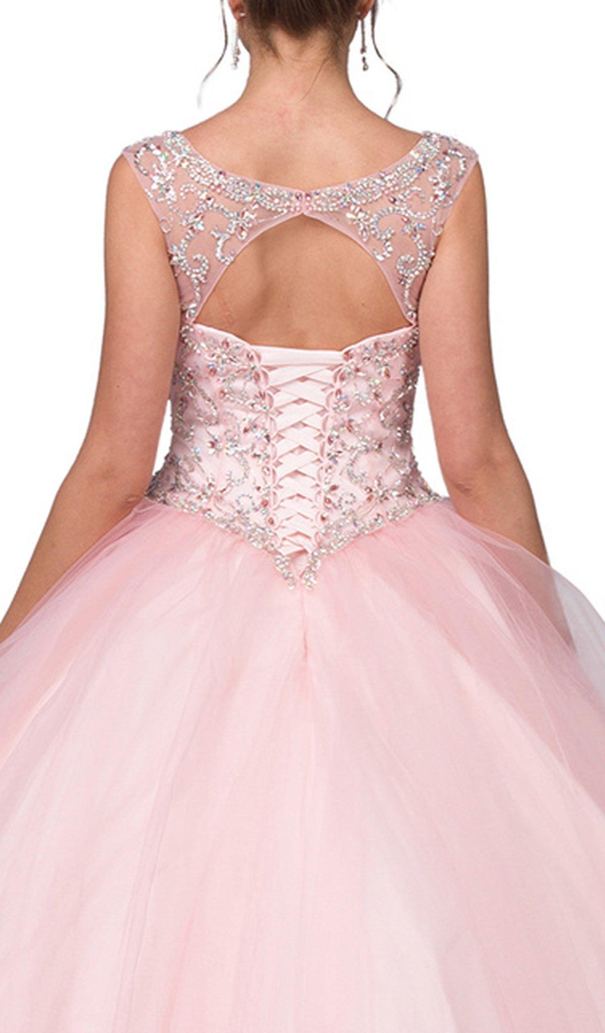 Dancing Queen - 1267 Cap Sleeves Embellished Quinceanera Ballgown