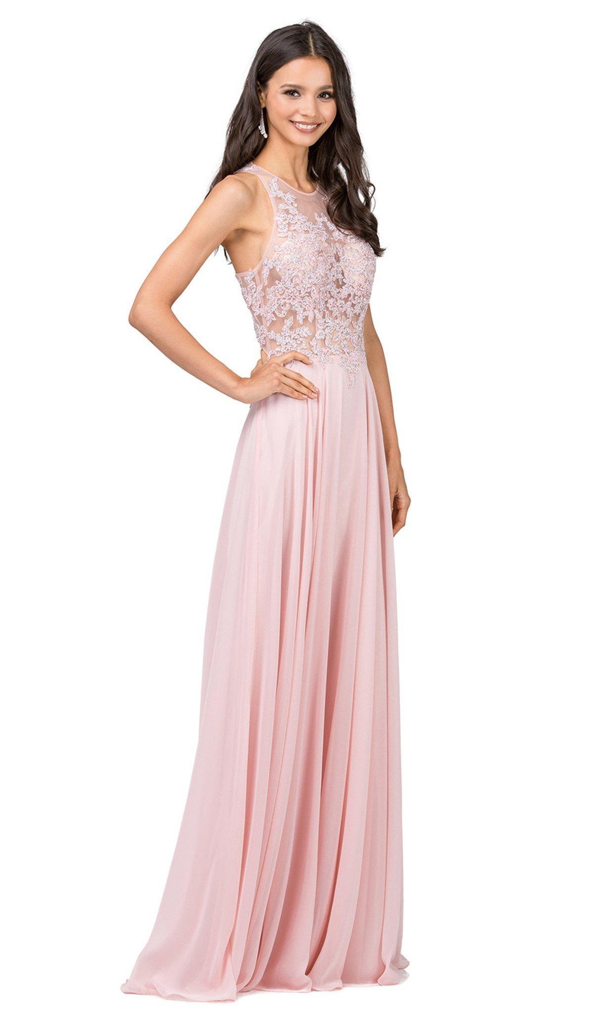 Dancing Queen - 2251 Lace Sheer Halter A-line Prom Dress