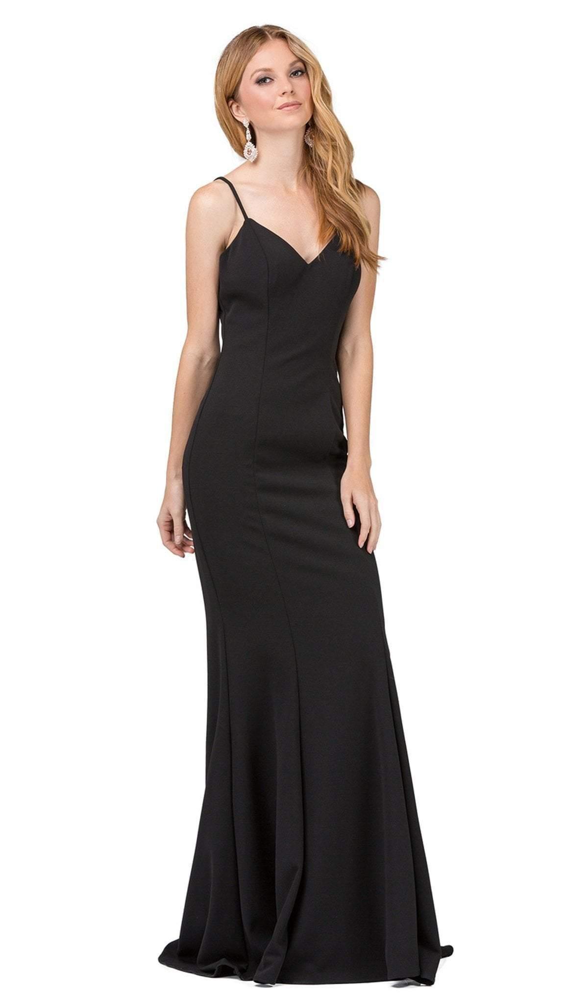 Dancing Queen - 2264 Sleeveless Sleek V-neck Sheath Prom Dress