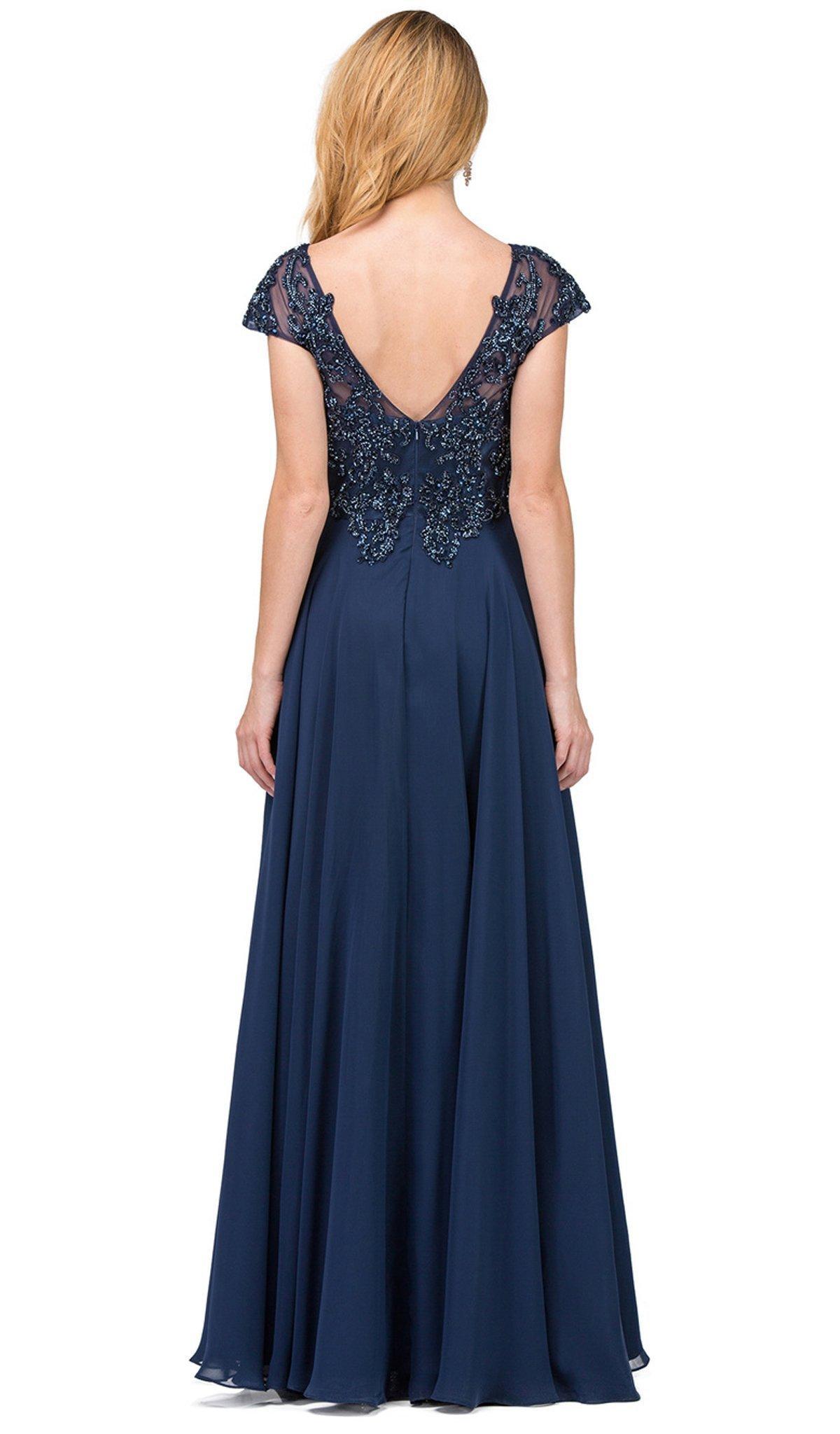 Dancing Queen - 2333 Embellished Cap Sleeve V-neck A-line Prom Dress