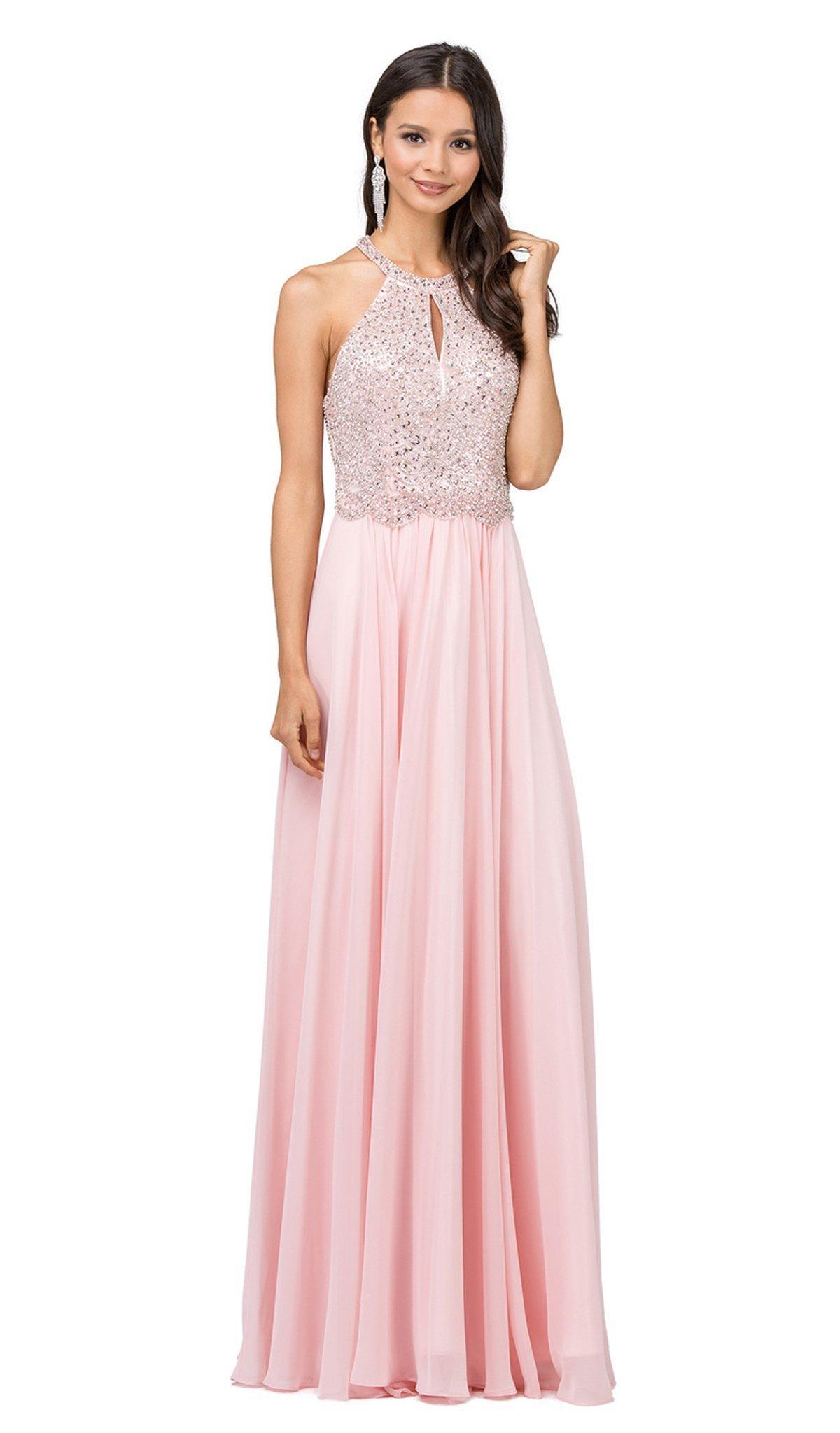 Dancing Queen - 2402 Bead Embellished Halter Evening Dress