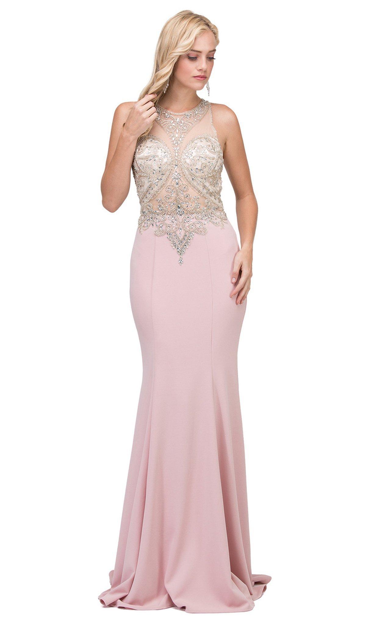 Dancing Queen - 2433 Sleeveless Jeweled Illusion Halter Sheath Prom Dress