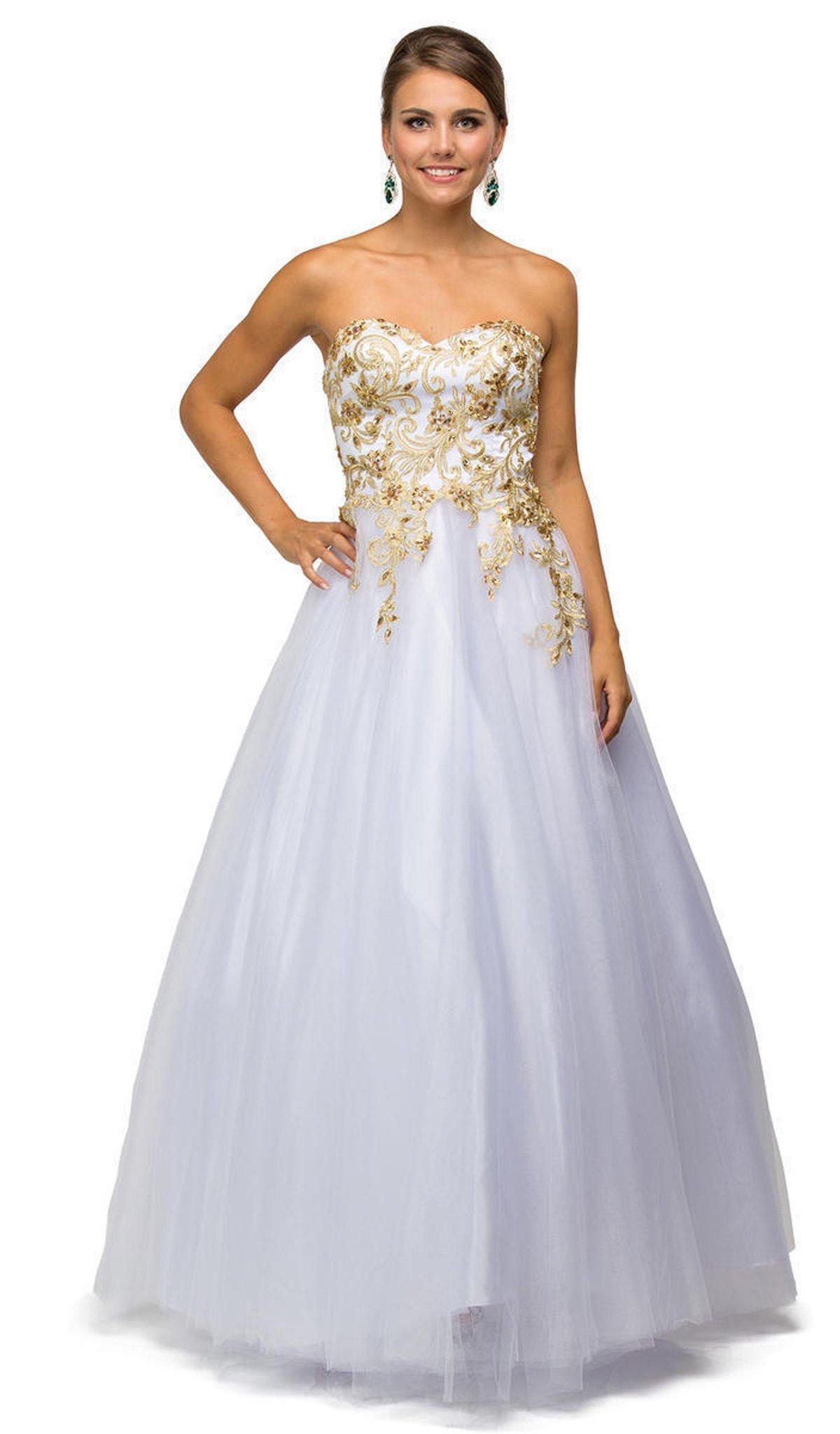 Dancing Queen - 9042 Gilded Strapless Evening Ballgown