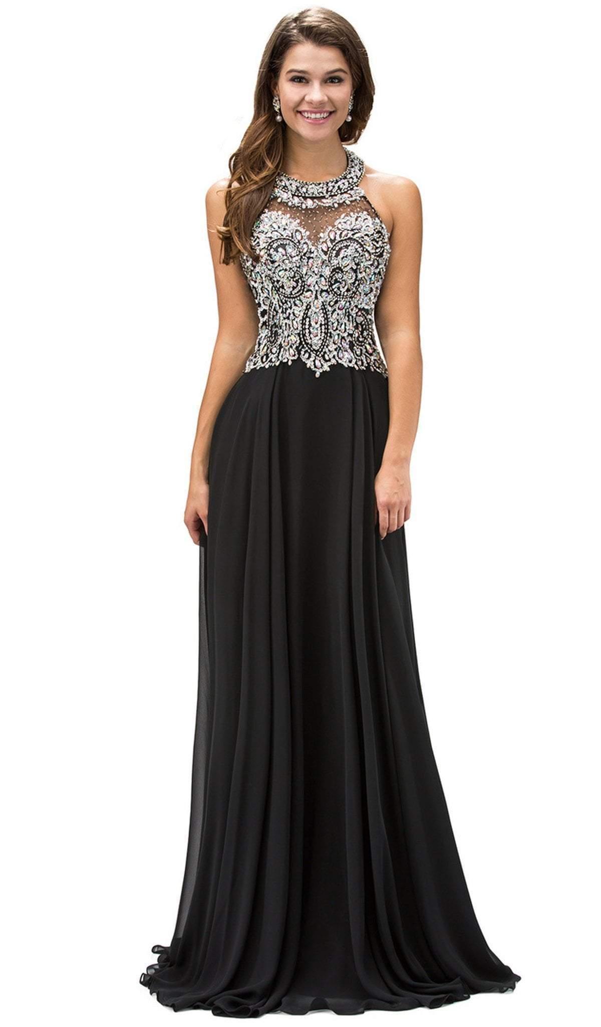 Dancing Queen - 9233 Jewel Adorned Illusion Chiffon Prom Dress