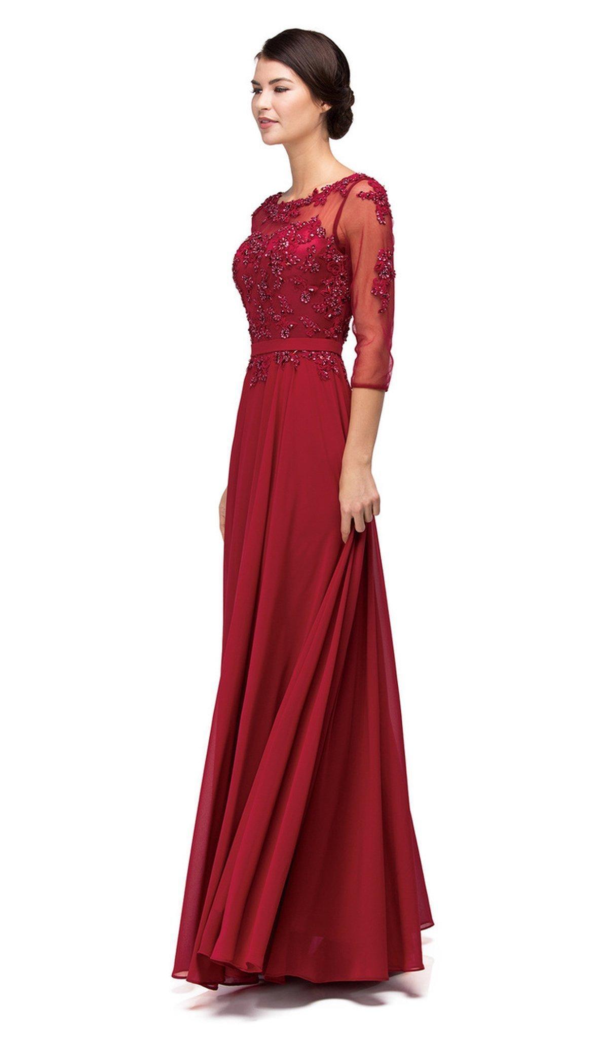 Dancing Queen - 9473X Lace Applique Illusion Bateau Prom Dress