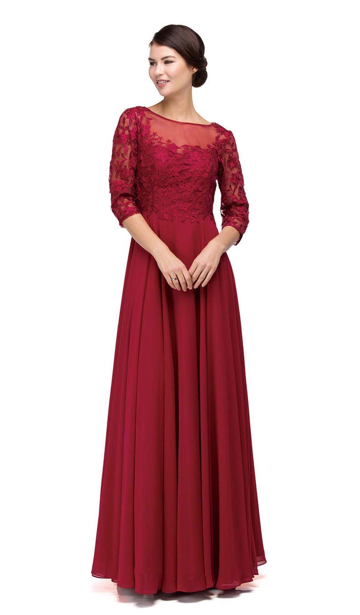 Dancing Queen - 9559 Gorgeous 3/4 Sleeve Sheer Long Prom Dress
