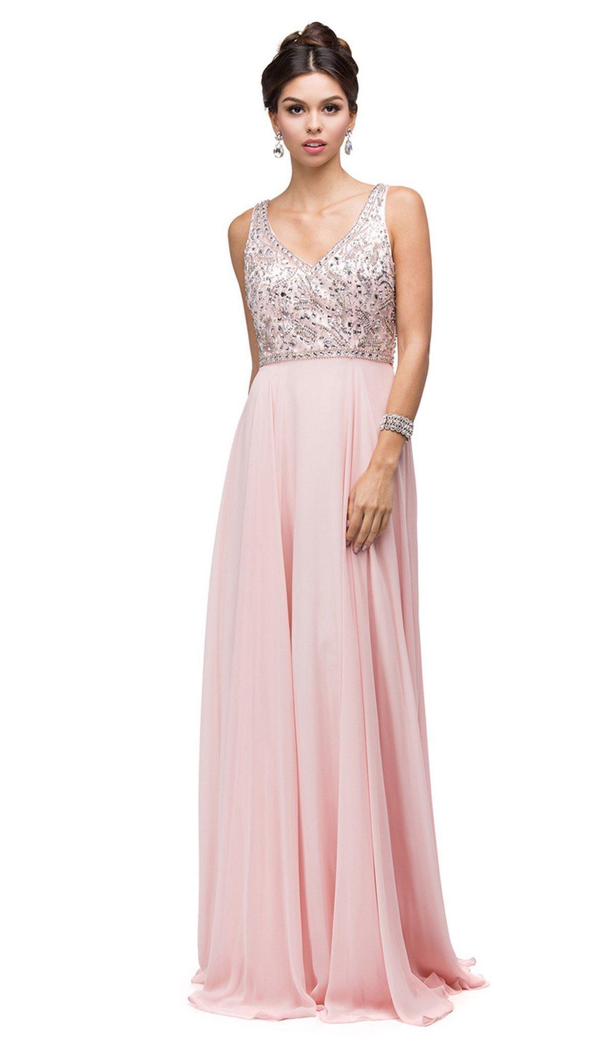 Dancing Queen - 9589 Beaded Bodice Chiffon A-line Prom Dress