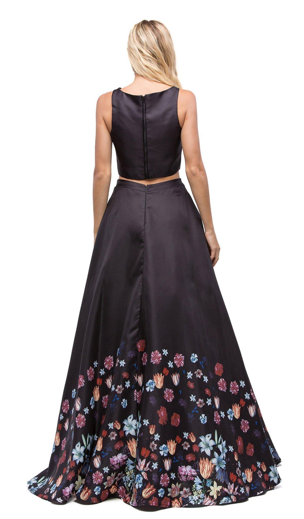 Dancing Queen - 9885 Two-Piece Bateau Floral A-line Prom Dress
