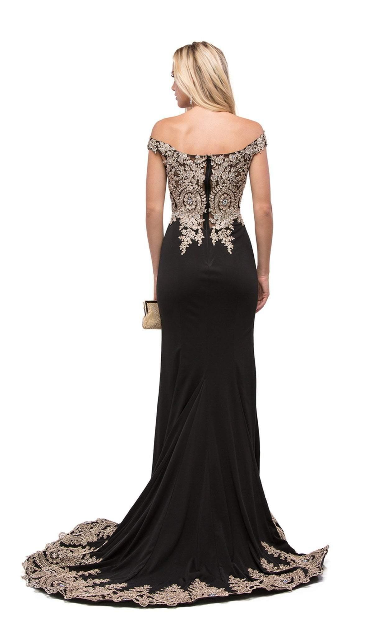 Dancing Queen - 9946 Embellished Off-Shoulder Evening Gown