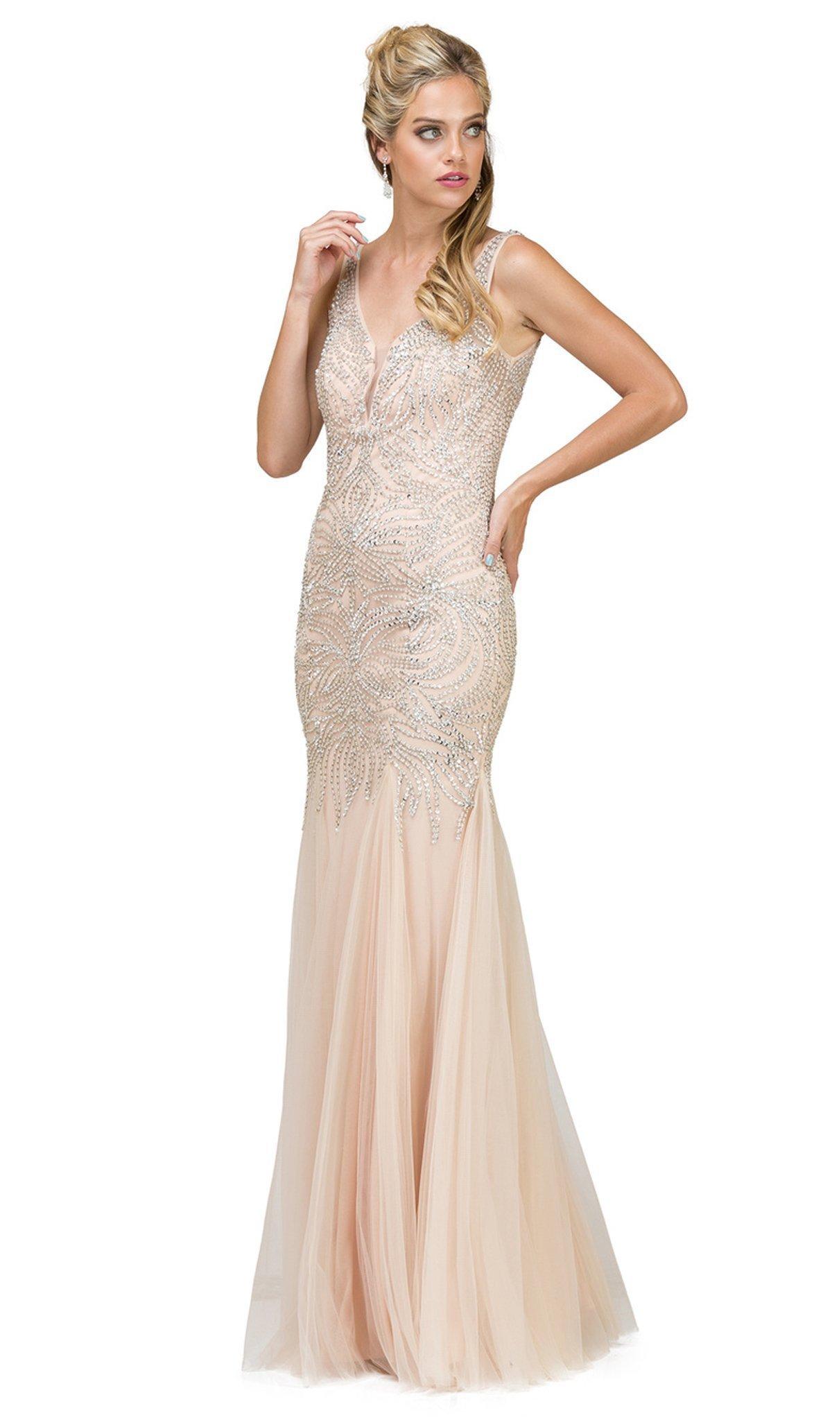 Dancing Queen - 9978 Embellished V-Neck Trumpet Prom Dress