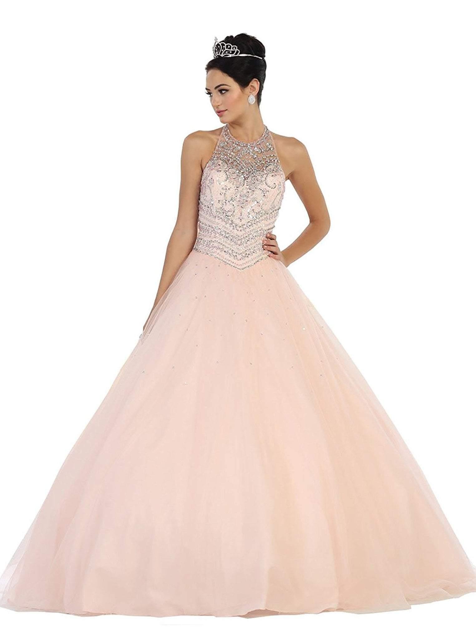 May Queen - LK79 Jewel-Encrusted Halter Neck Ball Gown
