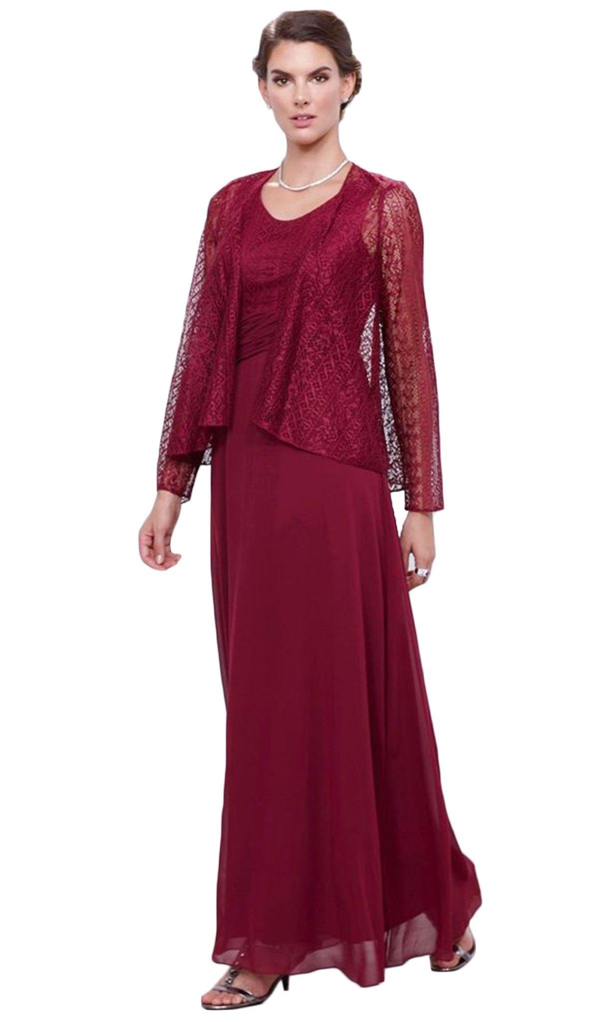 Nox Anabel - 5138 Lace Scoop Neck A-line Dress