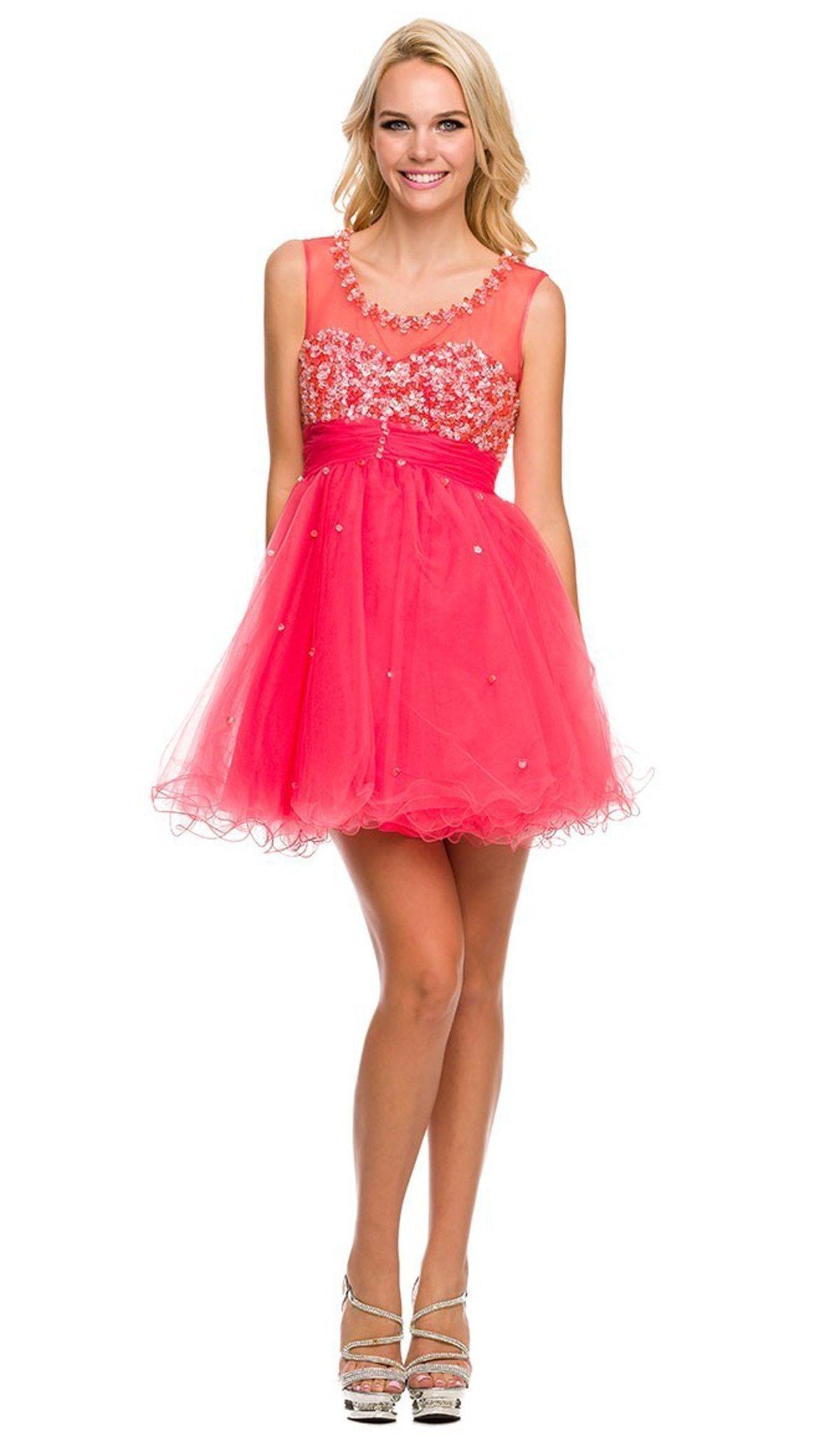 Nox Anabel - 6011 Bejeweled Illusion Scoop Neck Dress