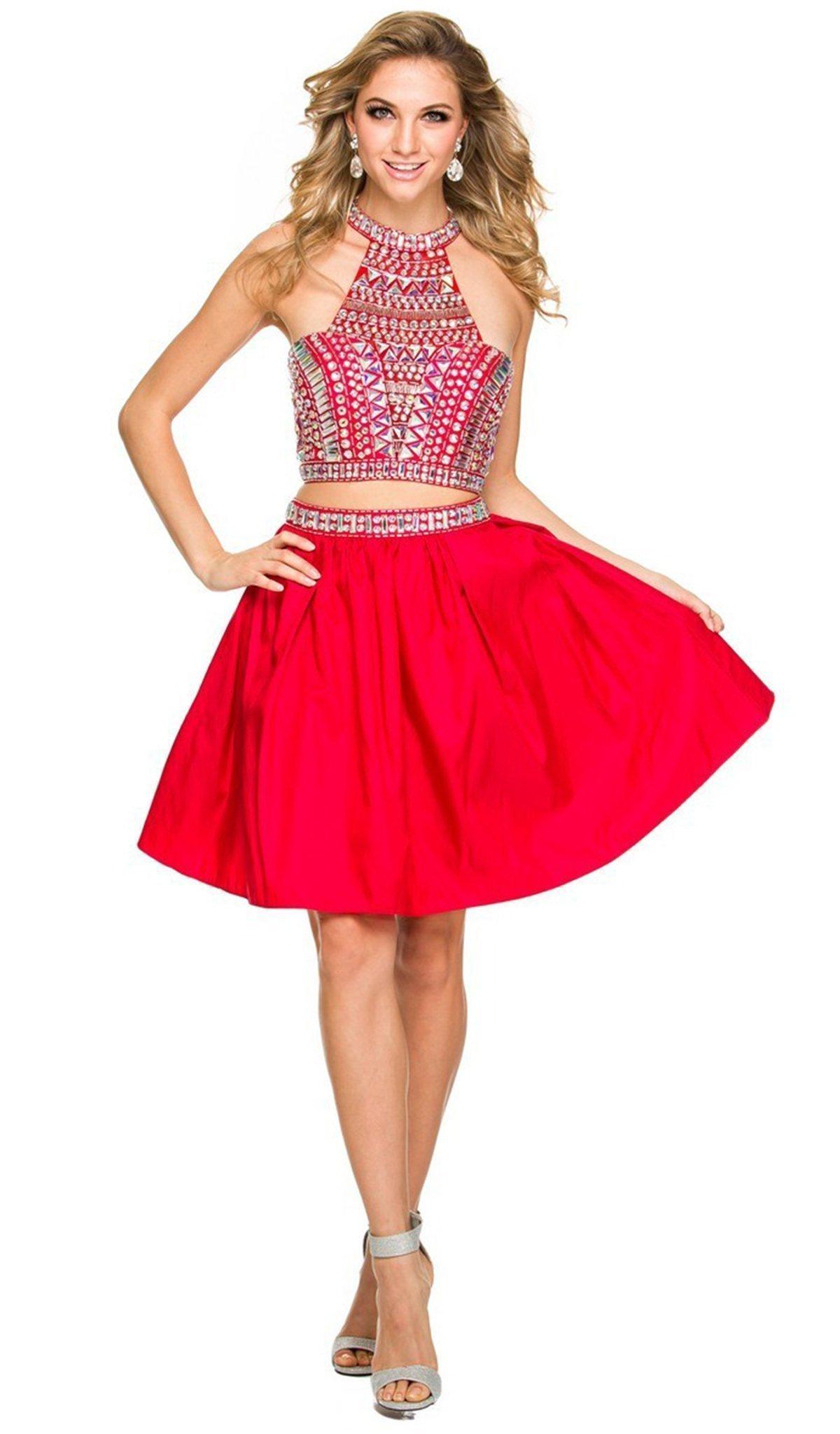 Nox Anabel - 6053 Gem Embellished Halter Two-Piece Cocktail Dress