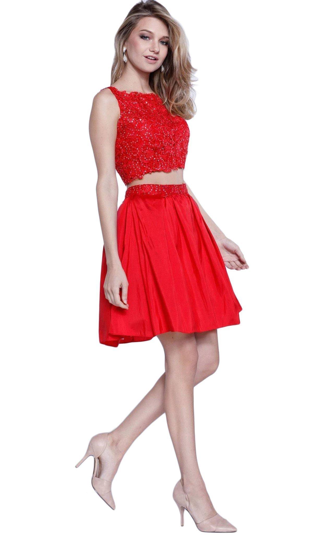 Nox Anabel - 6054 Embellished Bateau Neck Dress