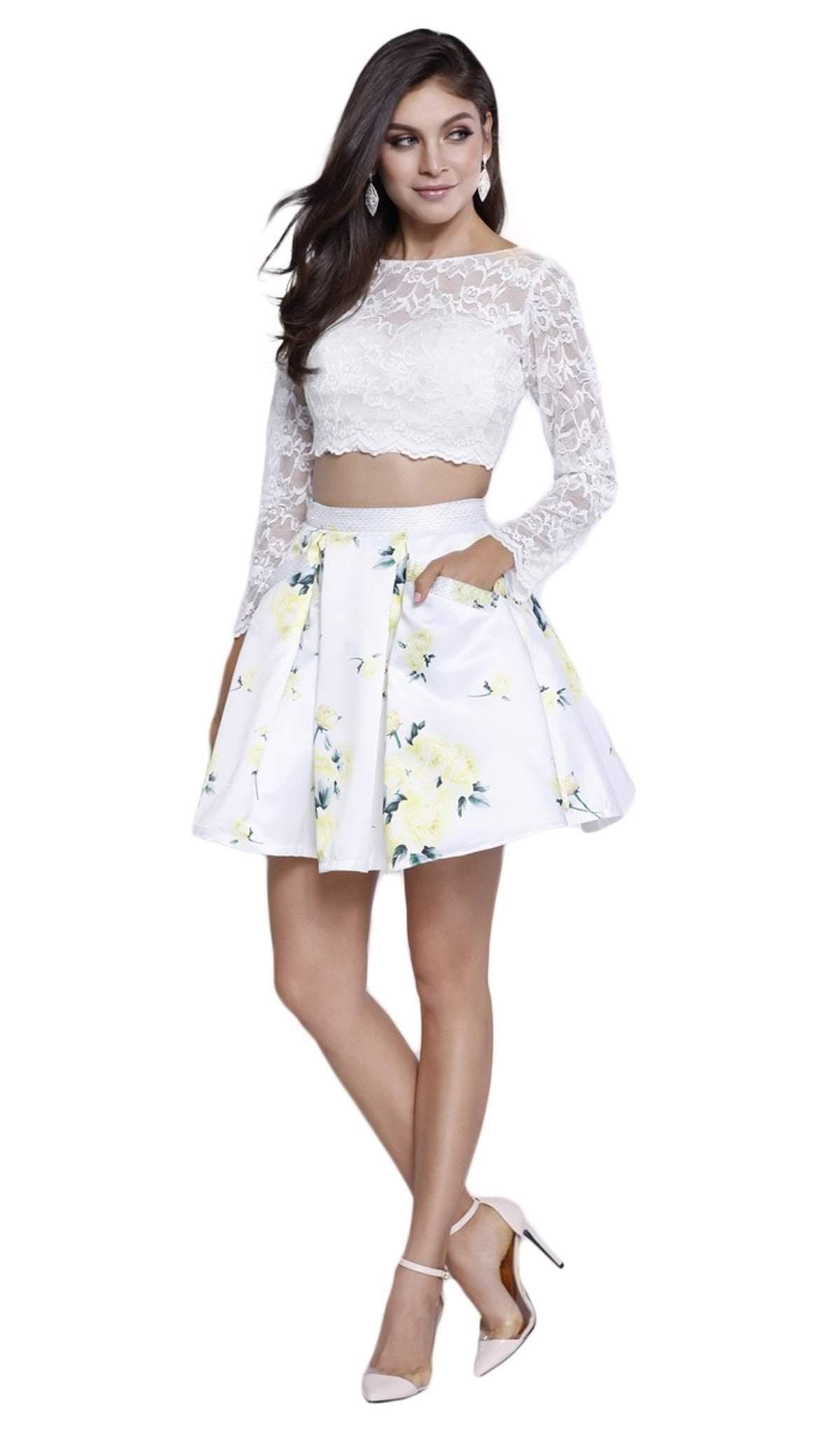 Nox Anabel - 6220 Long Sleeve Illusion Bateau Floral Cocktail Dress