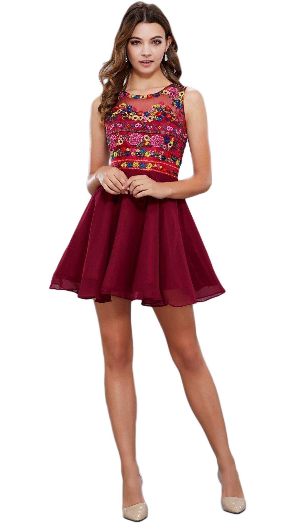 Nox Anabel - 6239 Floral Illusion Bateau Neck Dress