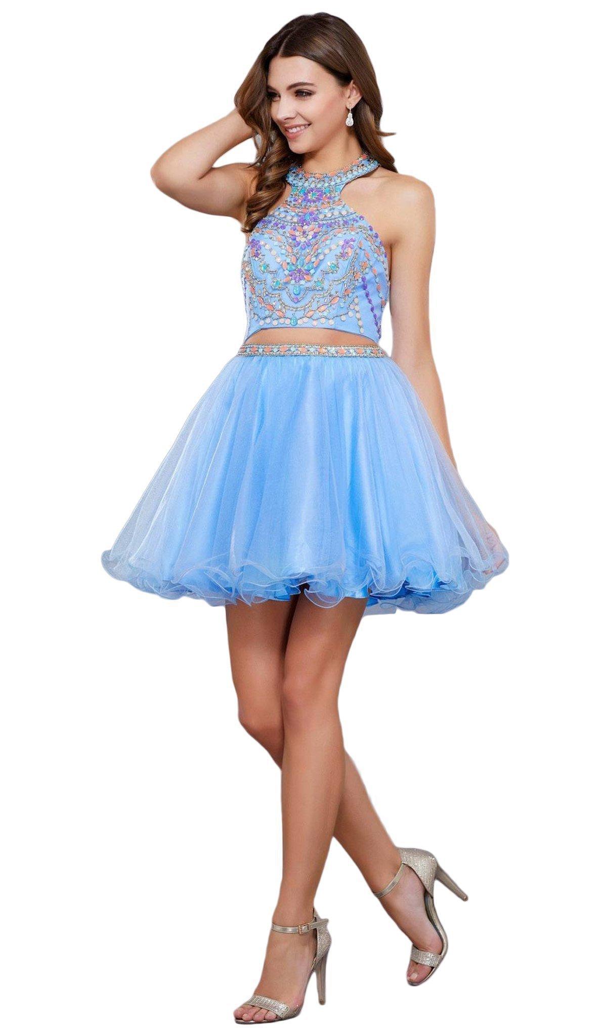 Nox Anabel - 6259 Two-Piece Halter Beaded Bodice Dress